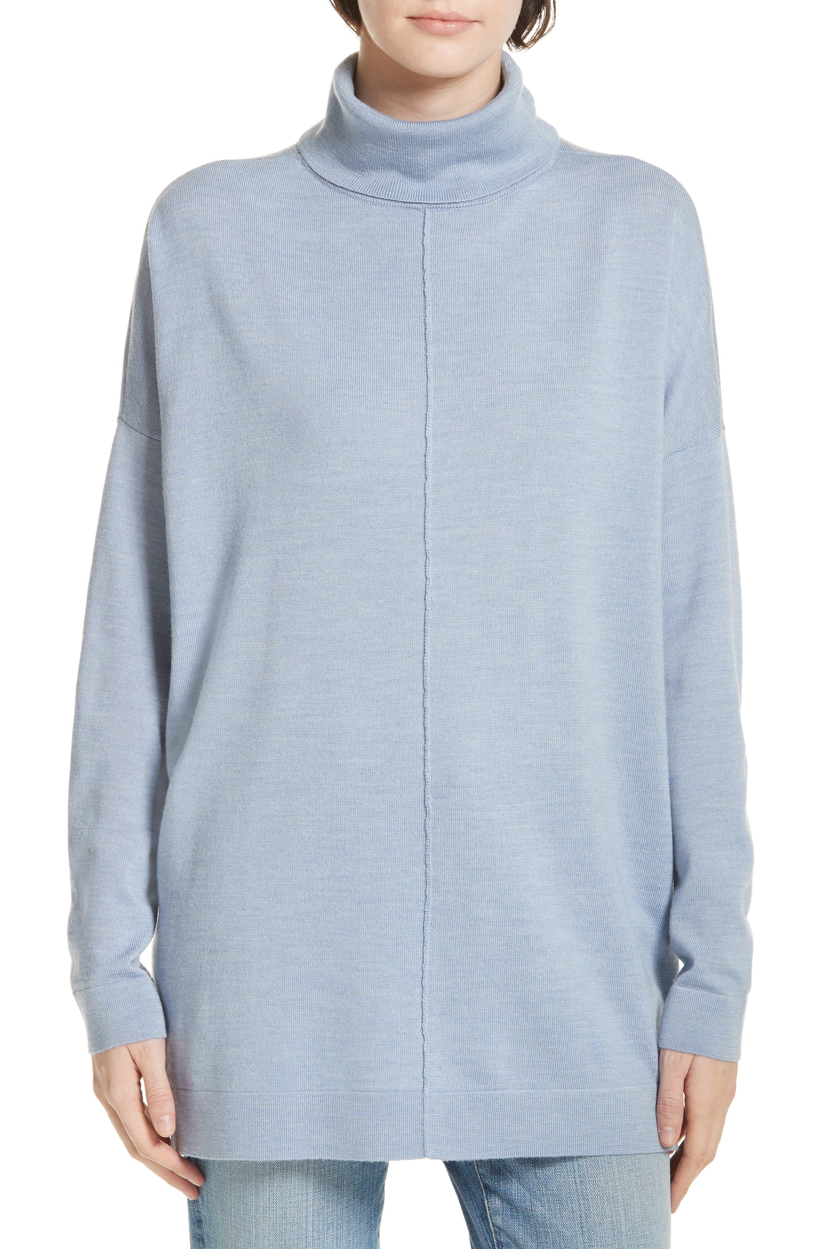 Eileen Fisher Merino Wool Boxy Turtleneck Sweater, Blue