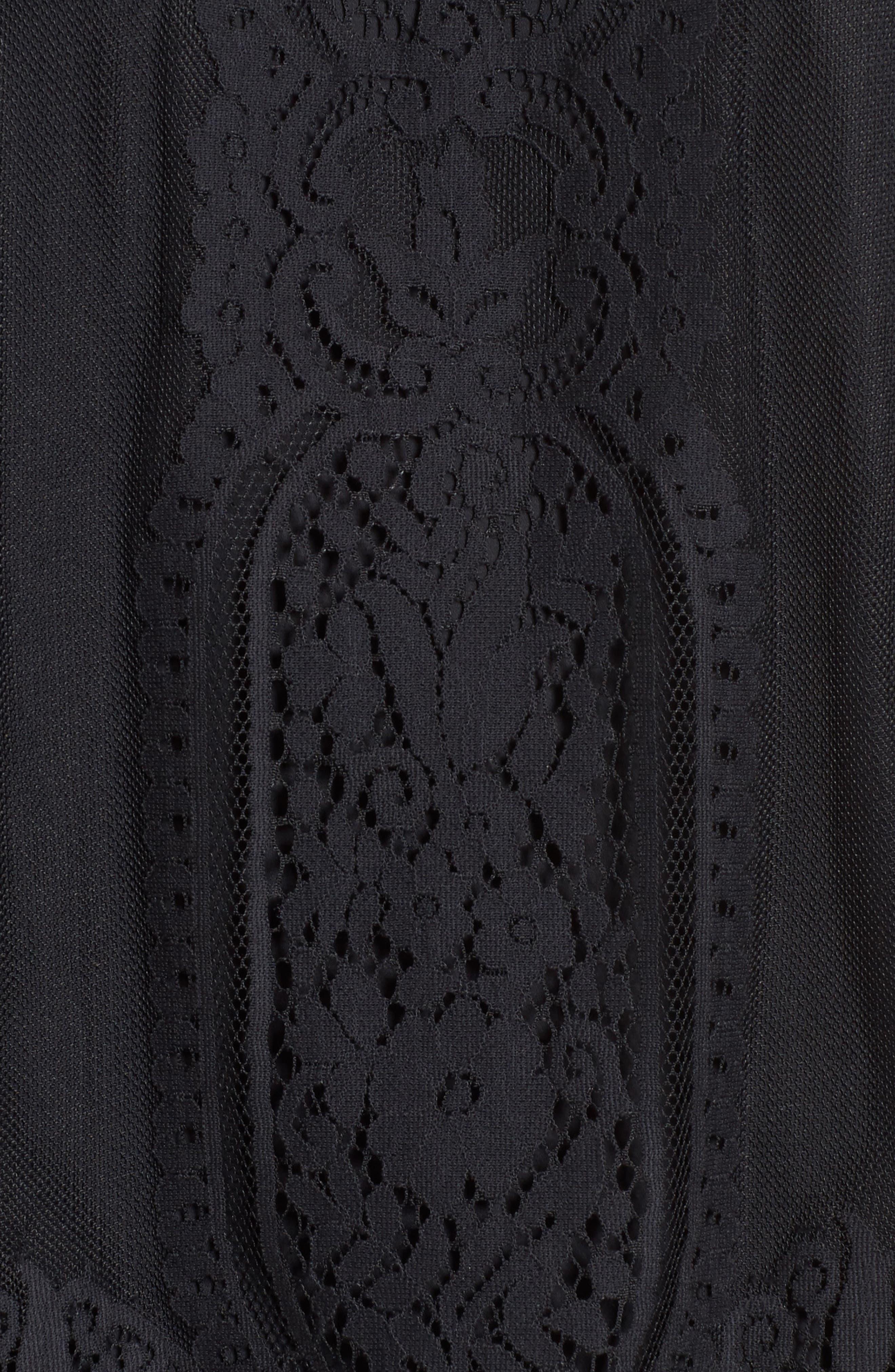 Yasmin Sheer Lace Top,                             Alternate thumbnail 5, color,                             BLACK