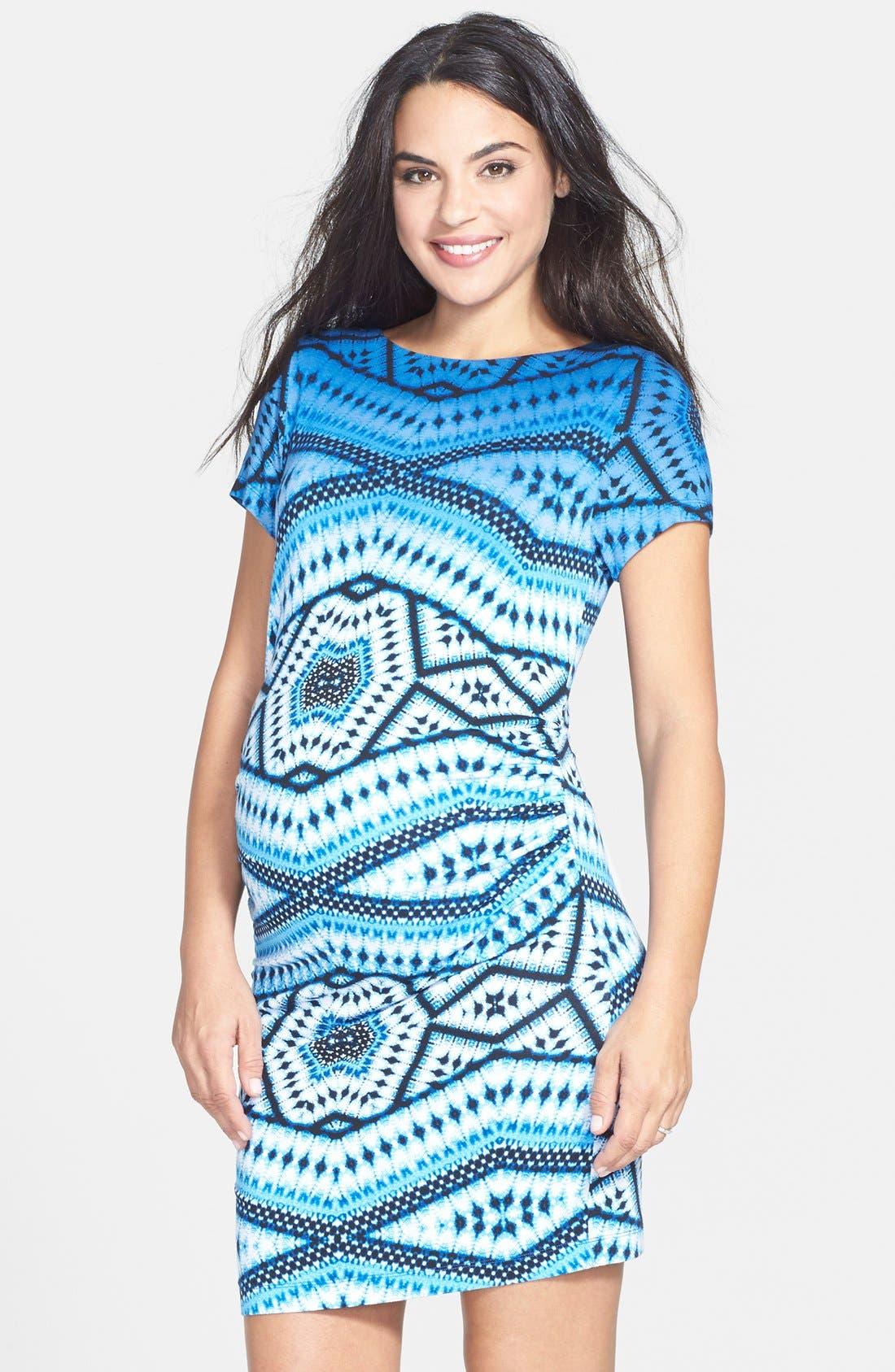 'Leilah' Body-Con Print Maternity Dress,                             Main thumbnail 4, color,