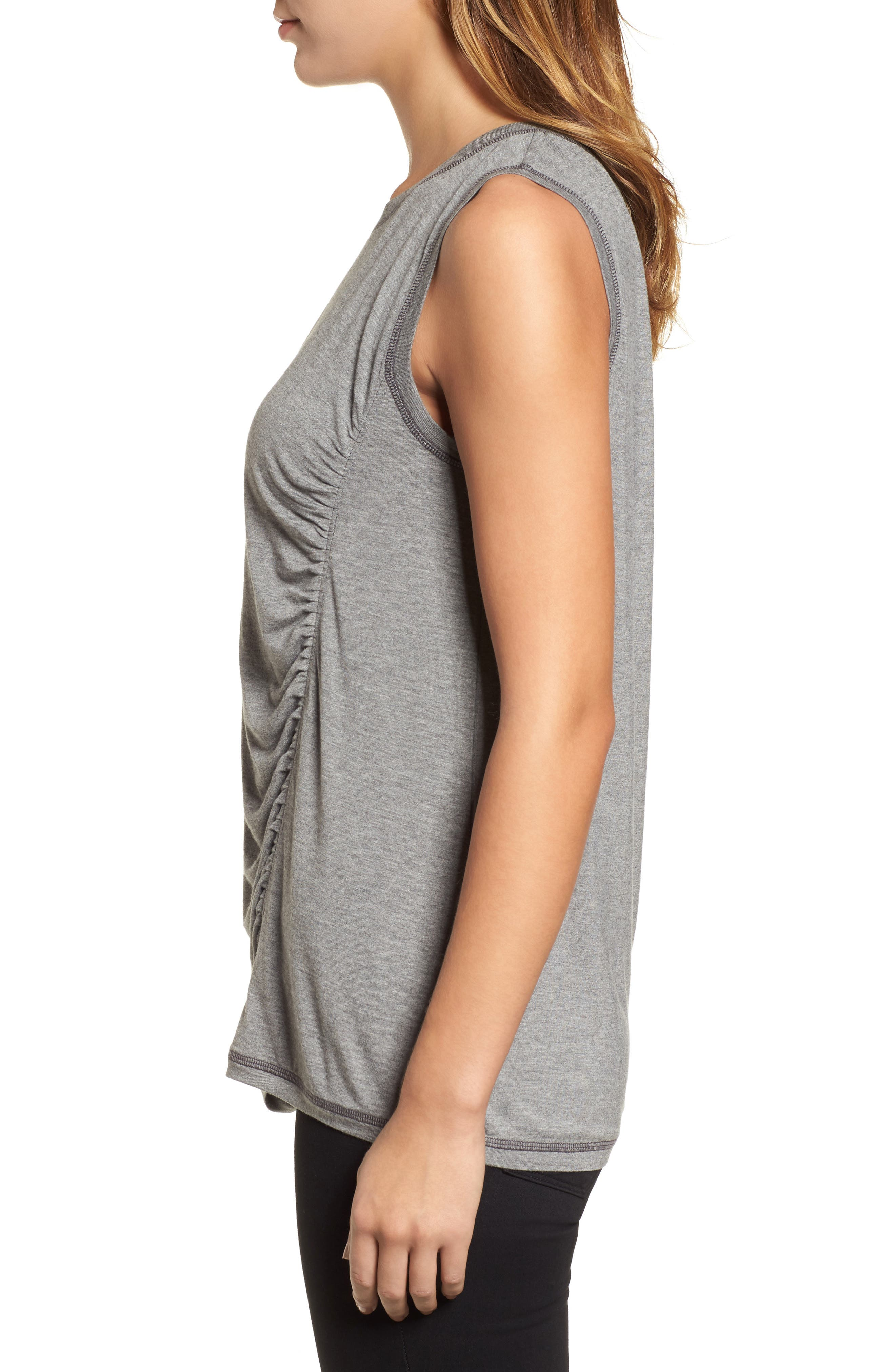 Off-Duty Shirred Sleeveless Tee,                             Alternate thumbnail 12, color,