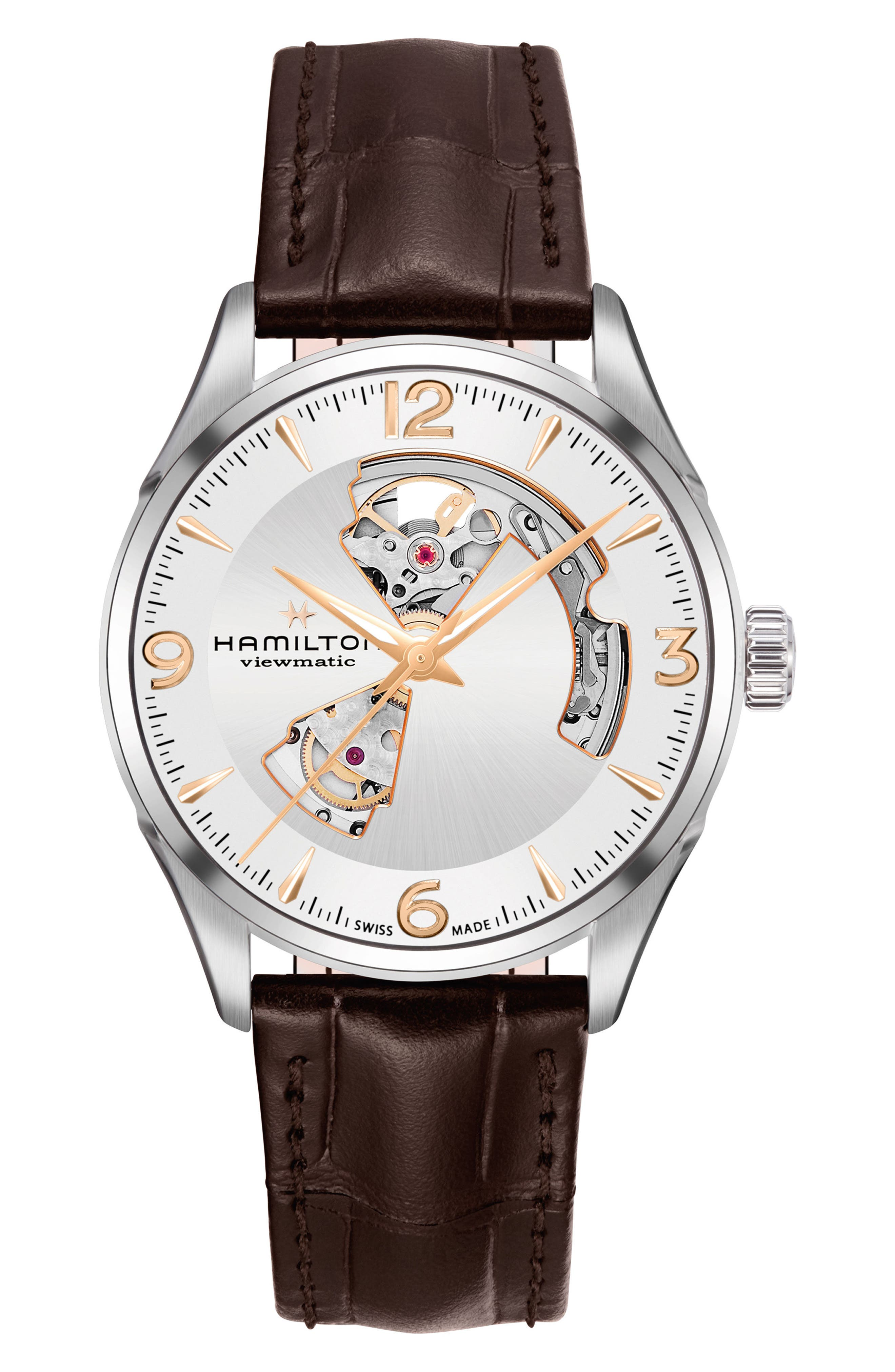 Jazzmaster Open Heart Automatic Leather Strap Watch, 42mm,                         Main,                         color, BROWN/ SILVER