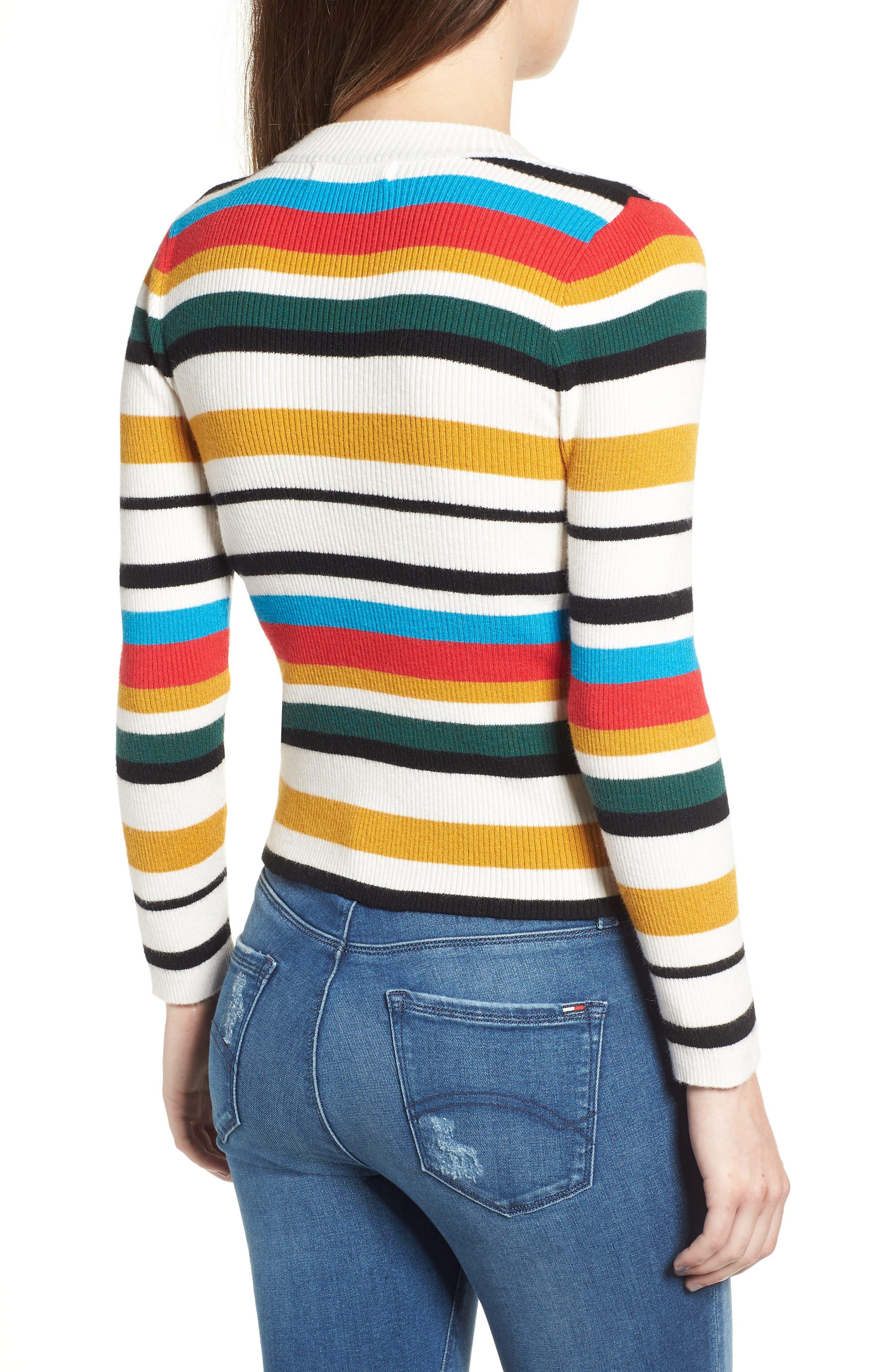 Stripe Rib Knit Sweater,                             Alternate thumbnail 2, color,                             100