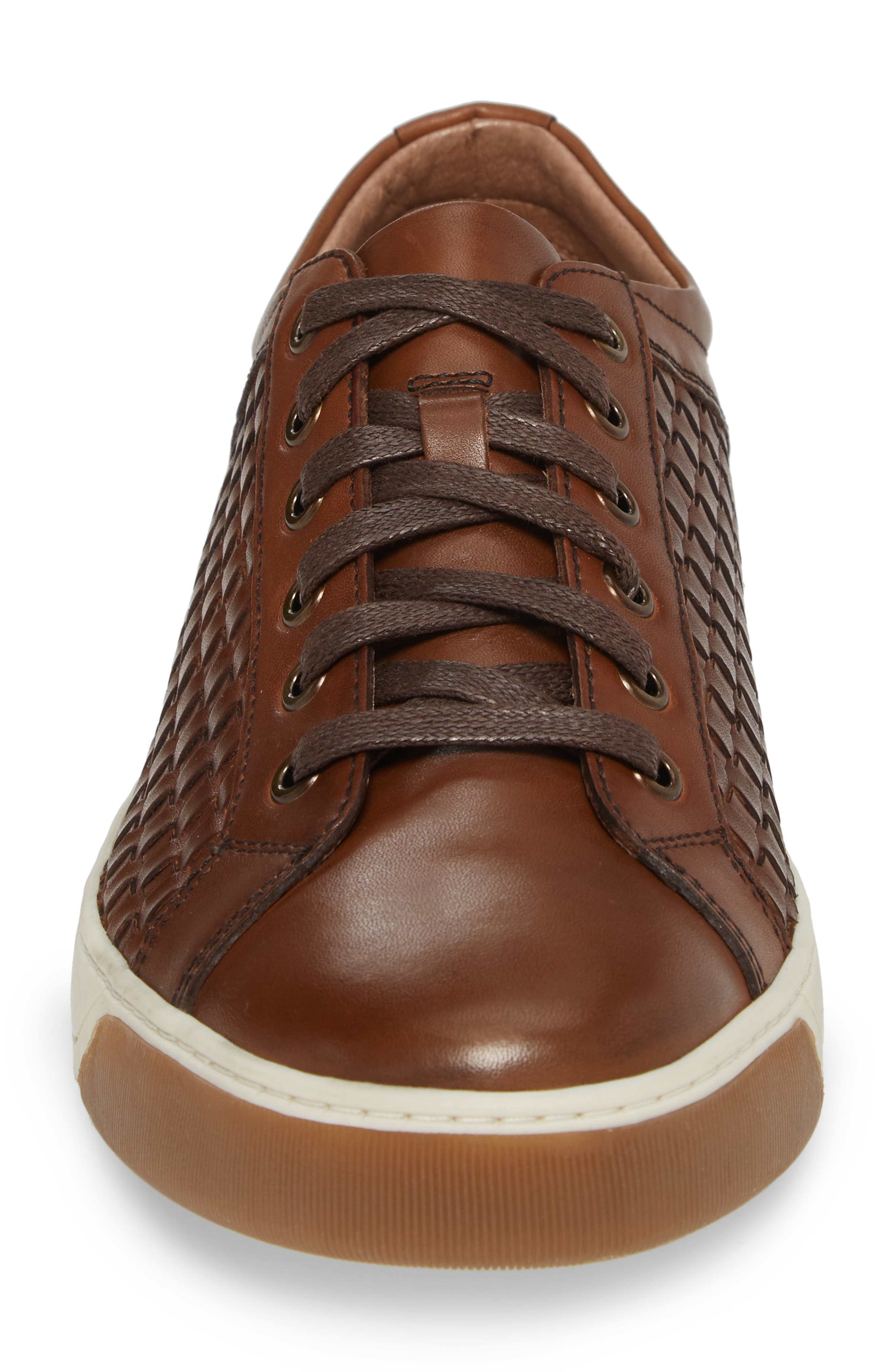 Allister Woven Low Top Sneaker,                             Alternate thumbnail 4, color,                             BROWN