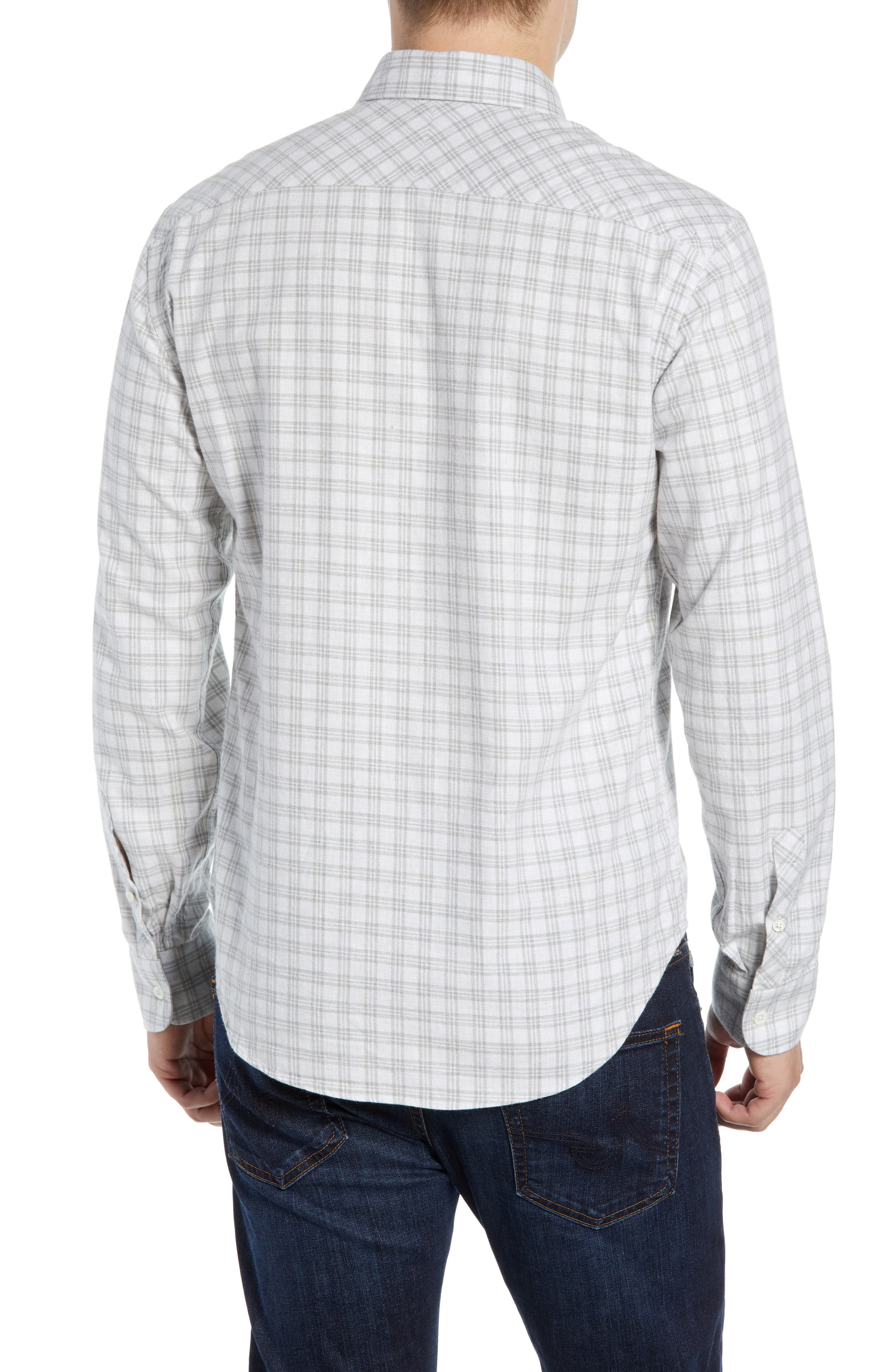 Kirby Slim Fit Check Sport Shirt,                             Alternate thumbnail 3, color,                             LIGHT GREY/ NATURAL