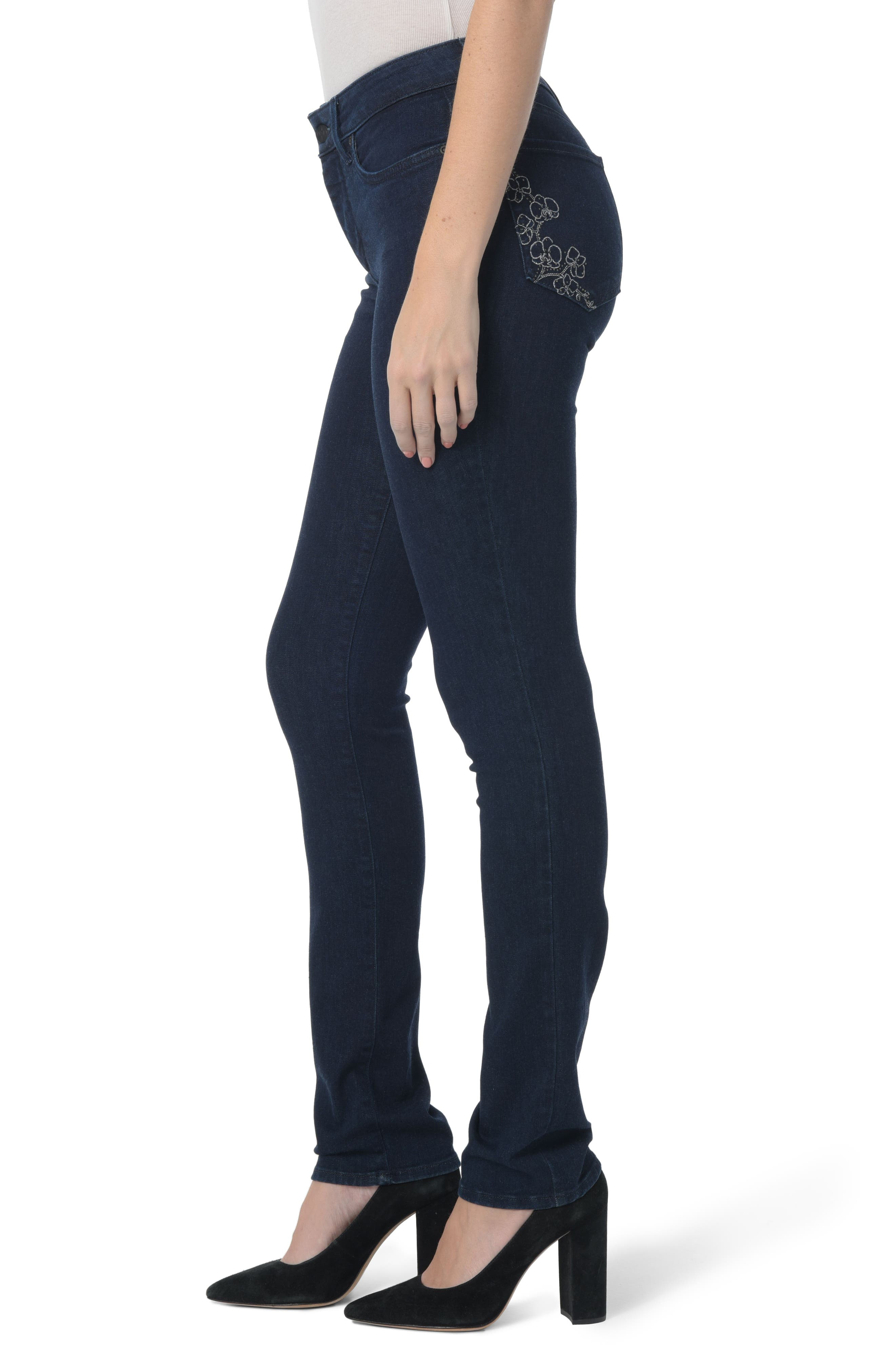 Sheri Floral Bling Stretch Slim Jeans,                             Alternate thumbnail 3, color,                             408