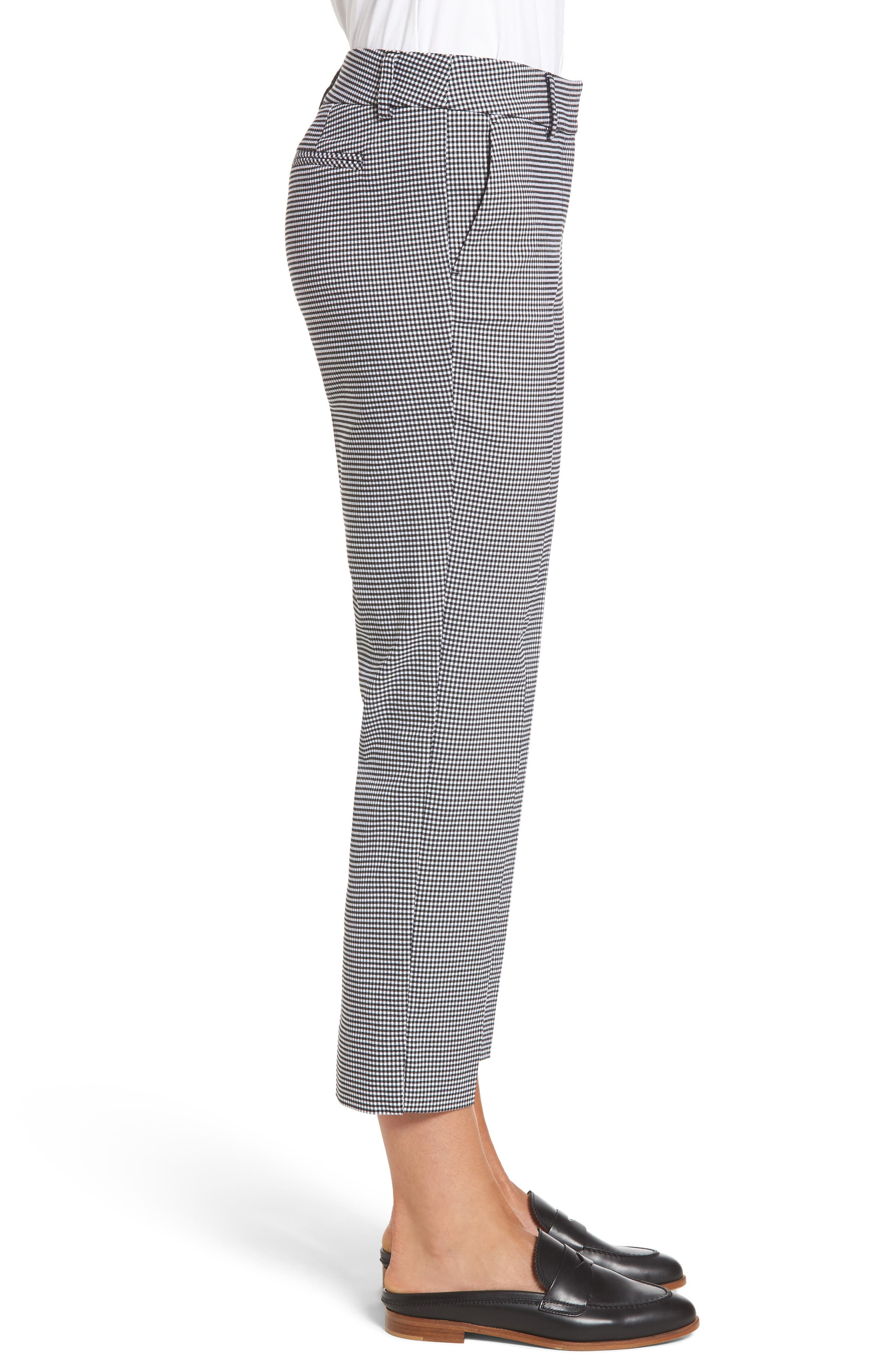 Crop Stretch Cotton Pants,                             Alternate thumbnail 3, color,                             002