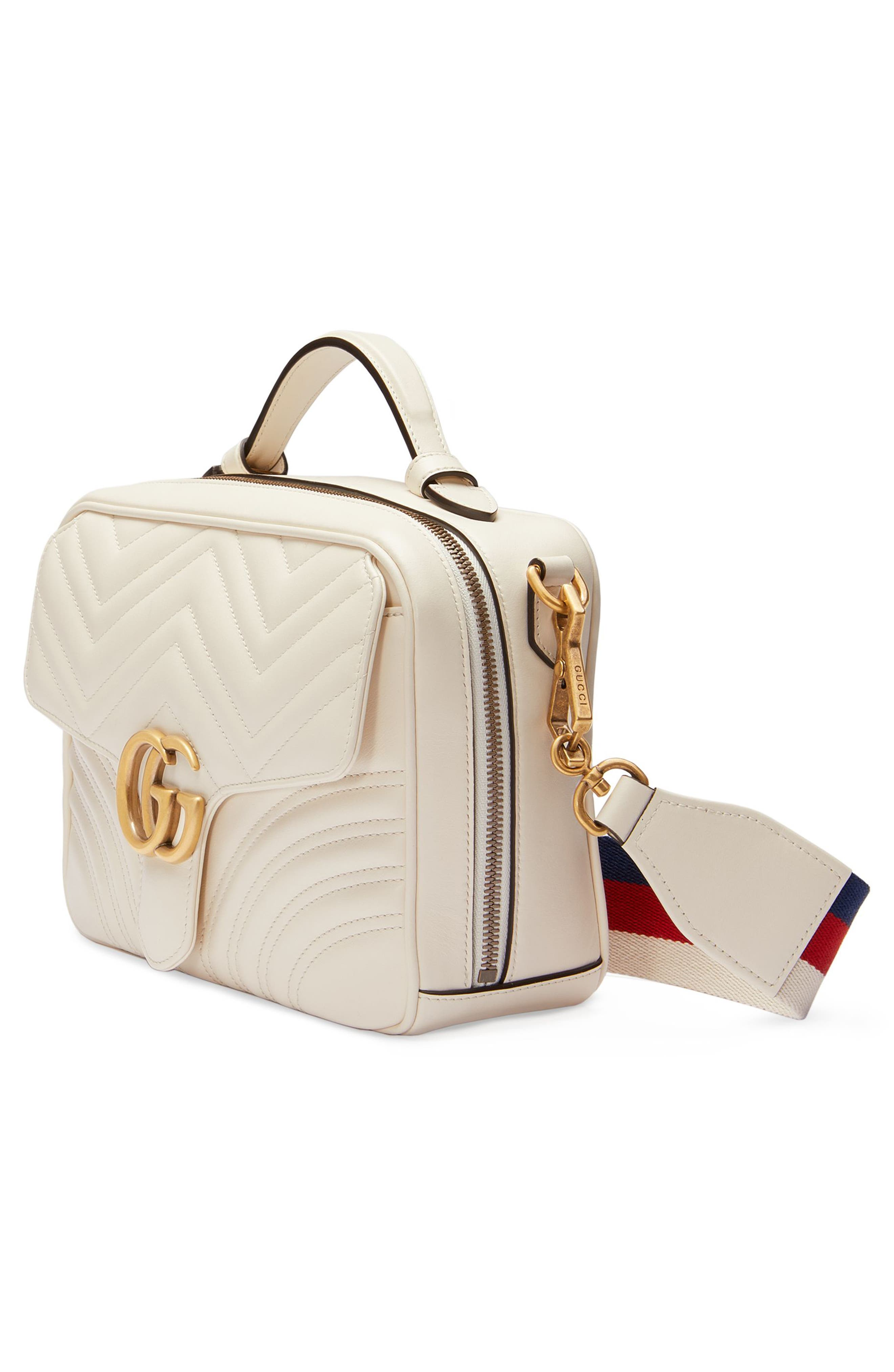 Small GG Marmont 2.0 Matelassé Leather Camera Bag with Webbed Strap,                             Alternate thumbnail 4, color,                             MYSTIC WHITE/ HIBISCUS RED