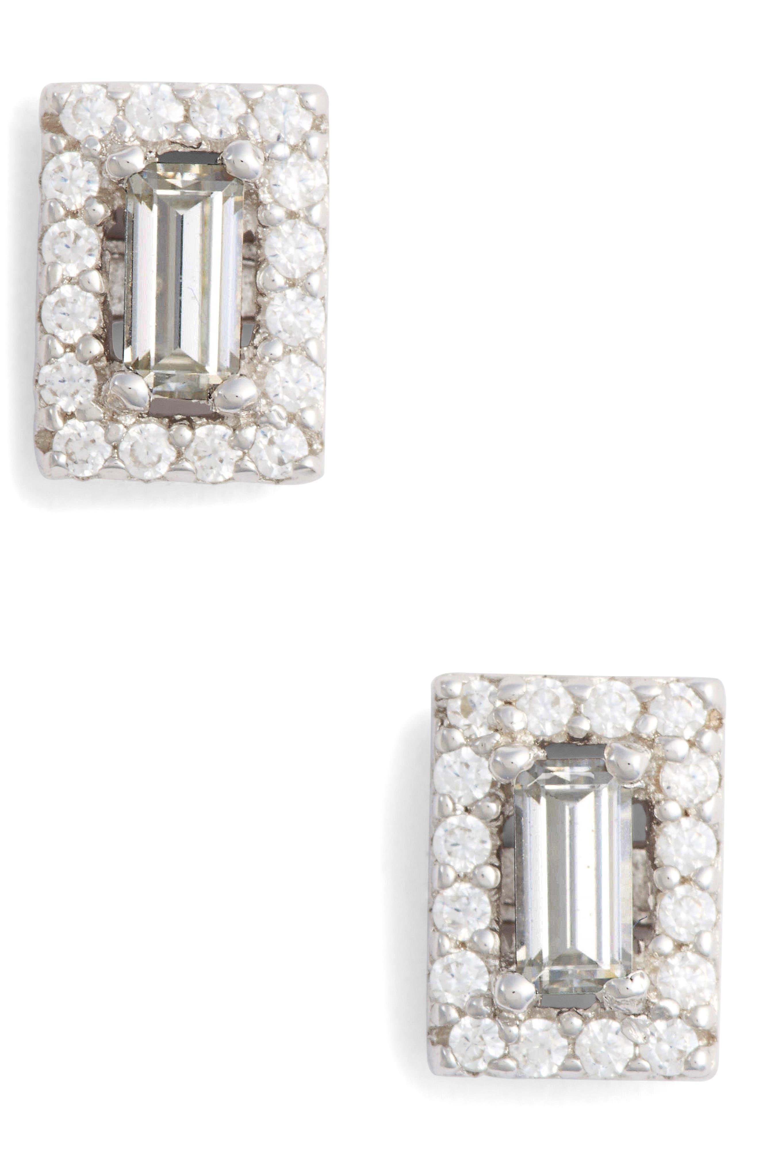 Crystal Baguette Simulated Diamond Stud Earrings,                             Main thumbnail 1, color,                             SILVER/ CLEAR