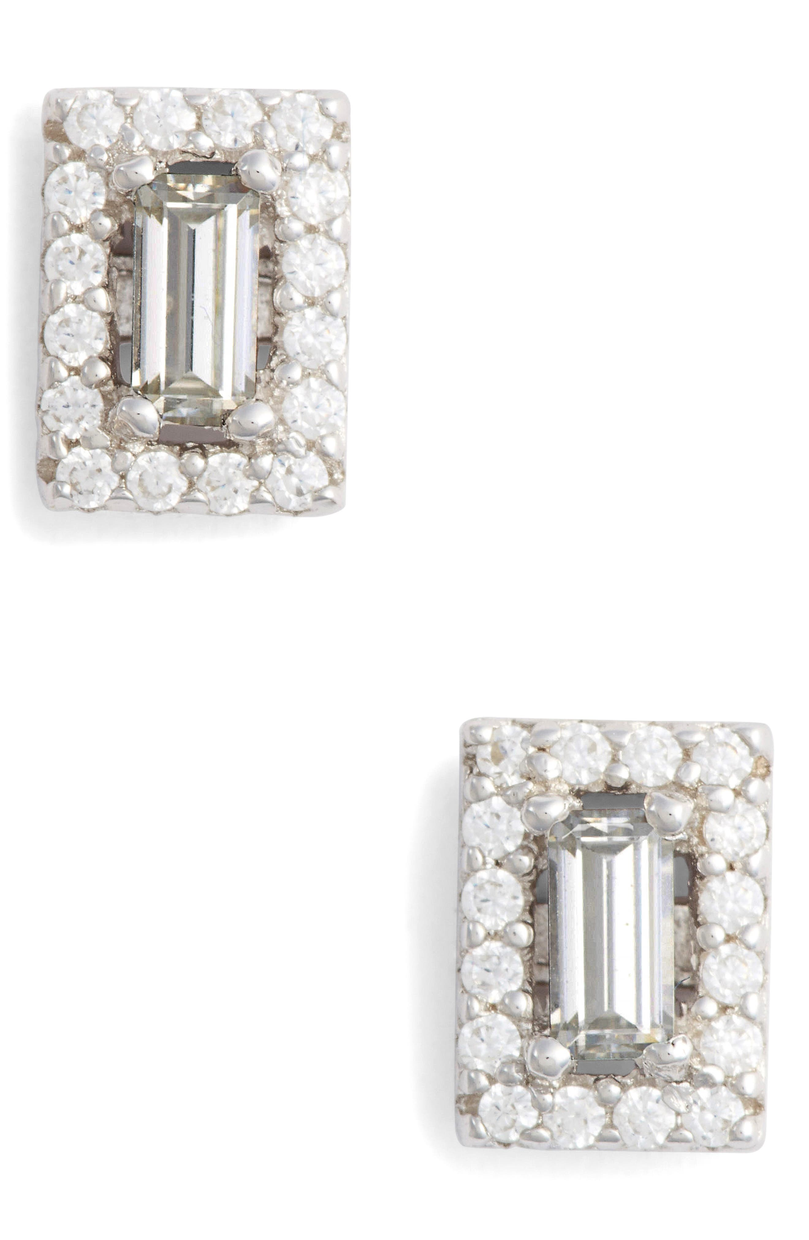 Crystal Baguette Simulated Diamond Stud Earrings,                         Main,                         color, SILVER/ CLEAR