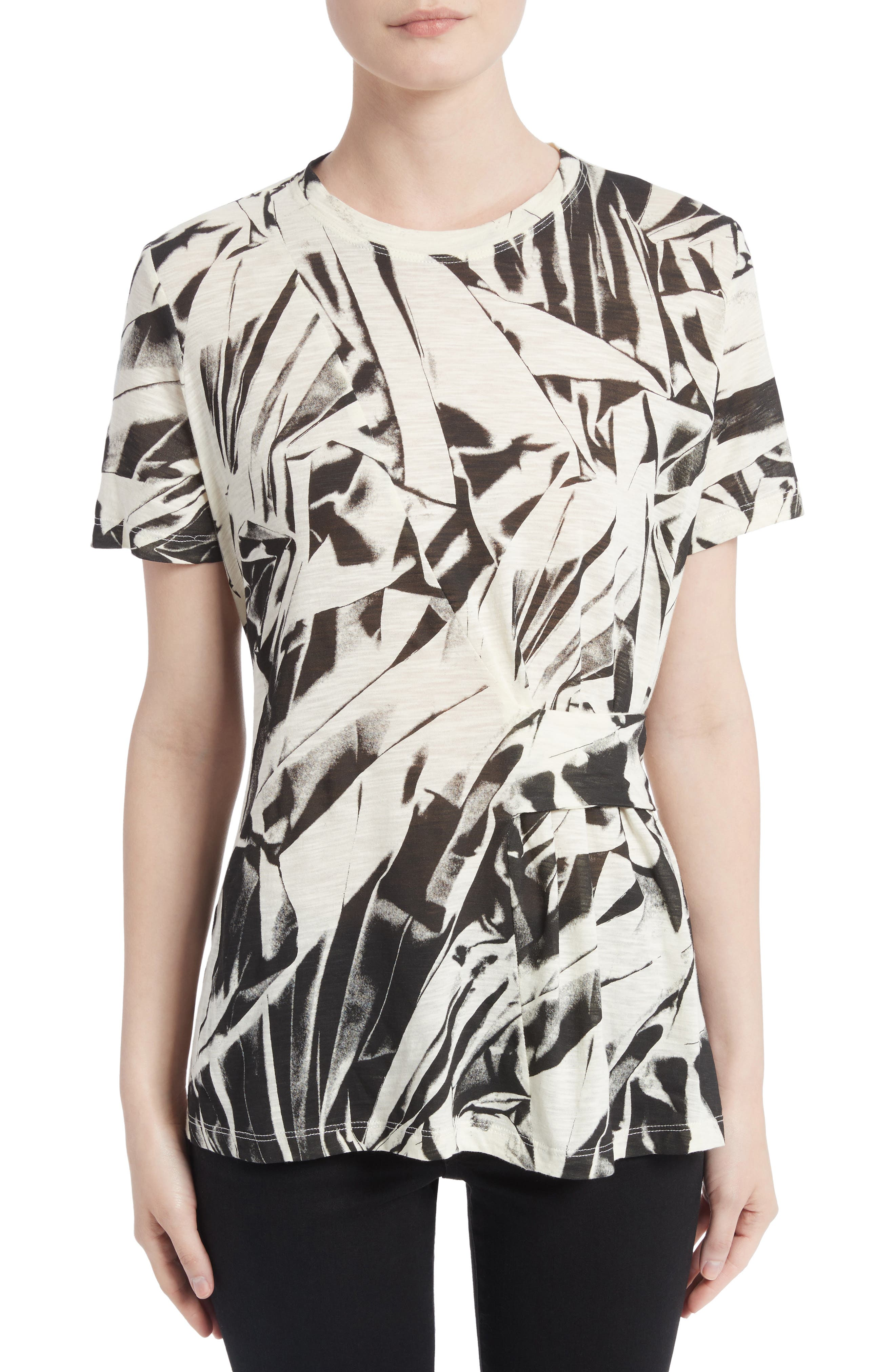 Band Detail Print Tissue Jersey Tee,                         Main,                         color, 001