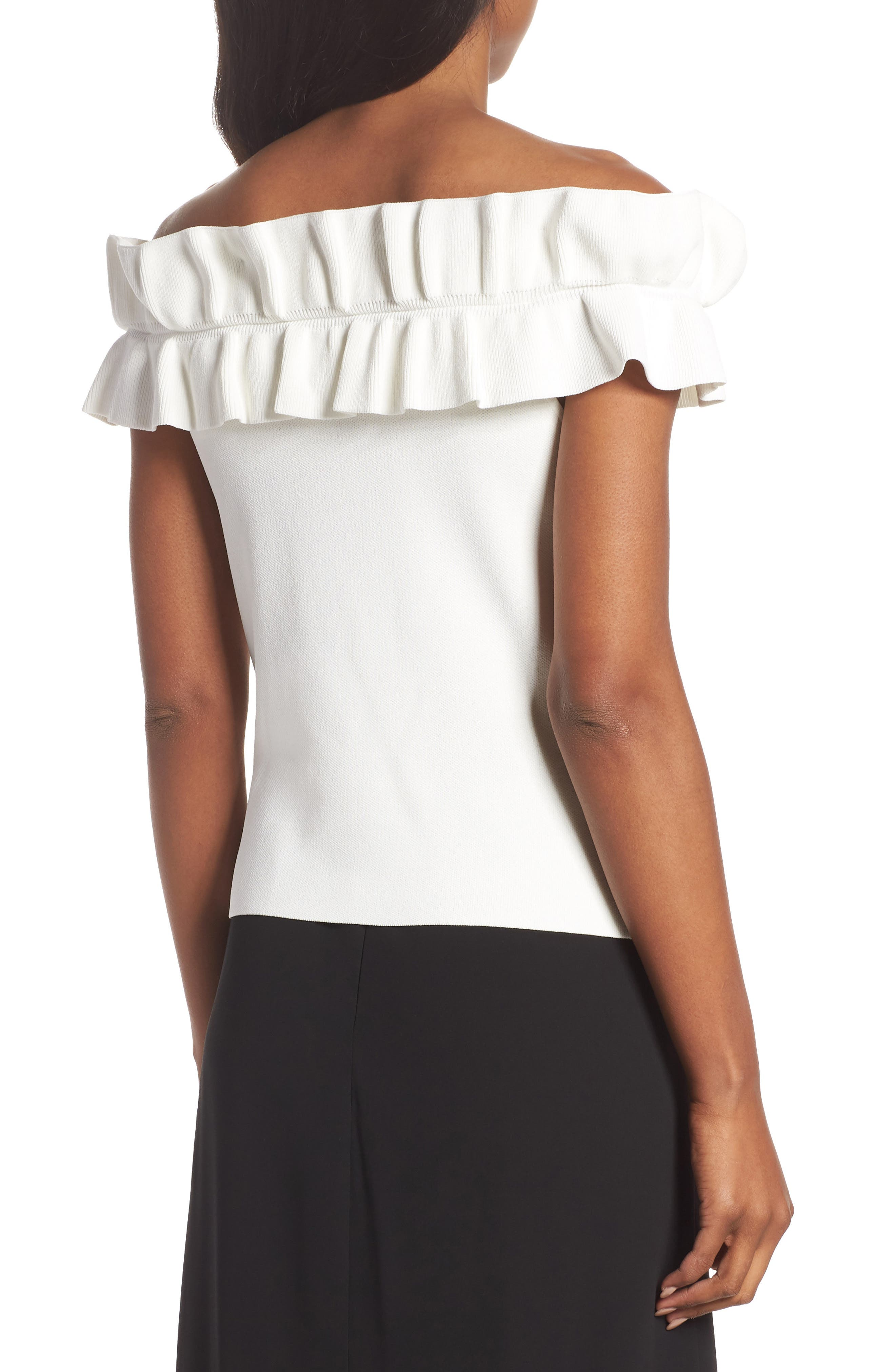 Off the Shoulder Ruffle Knit Top,                             Alternate thumbnail 2, color,                             900