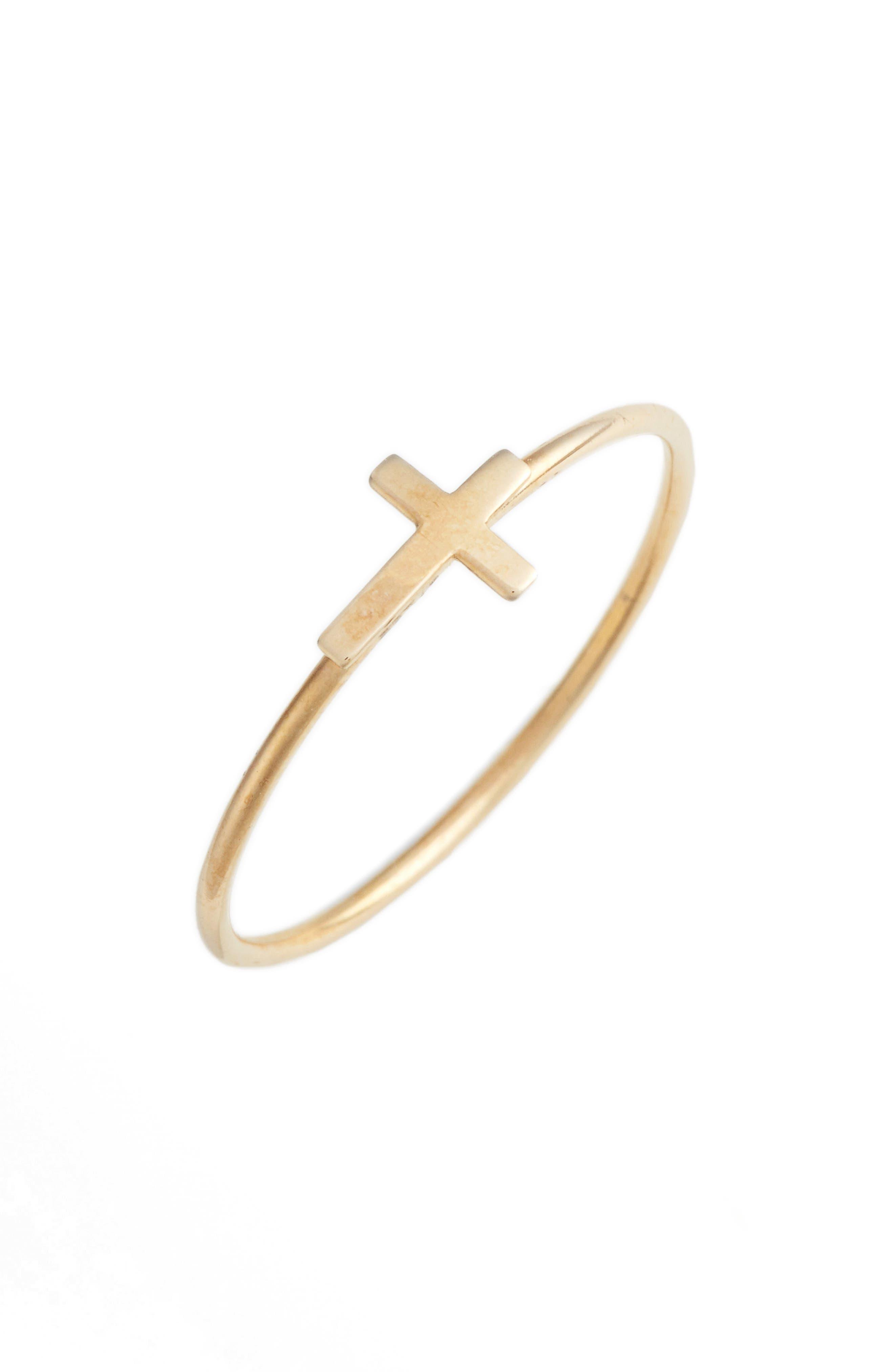 Cross Stacking Ring,                             Main thumbnail 1, color,                             YELLOW GOLD