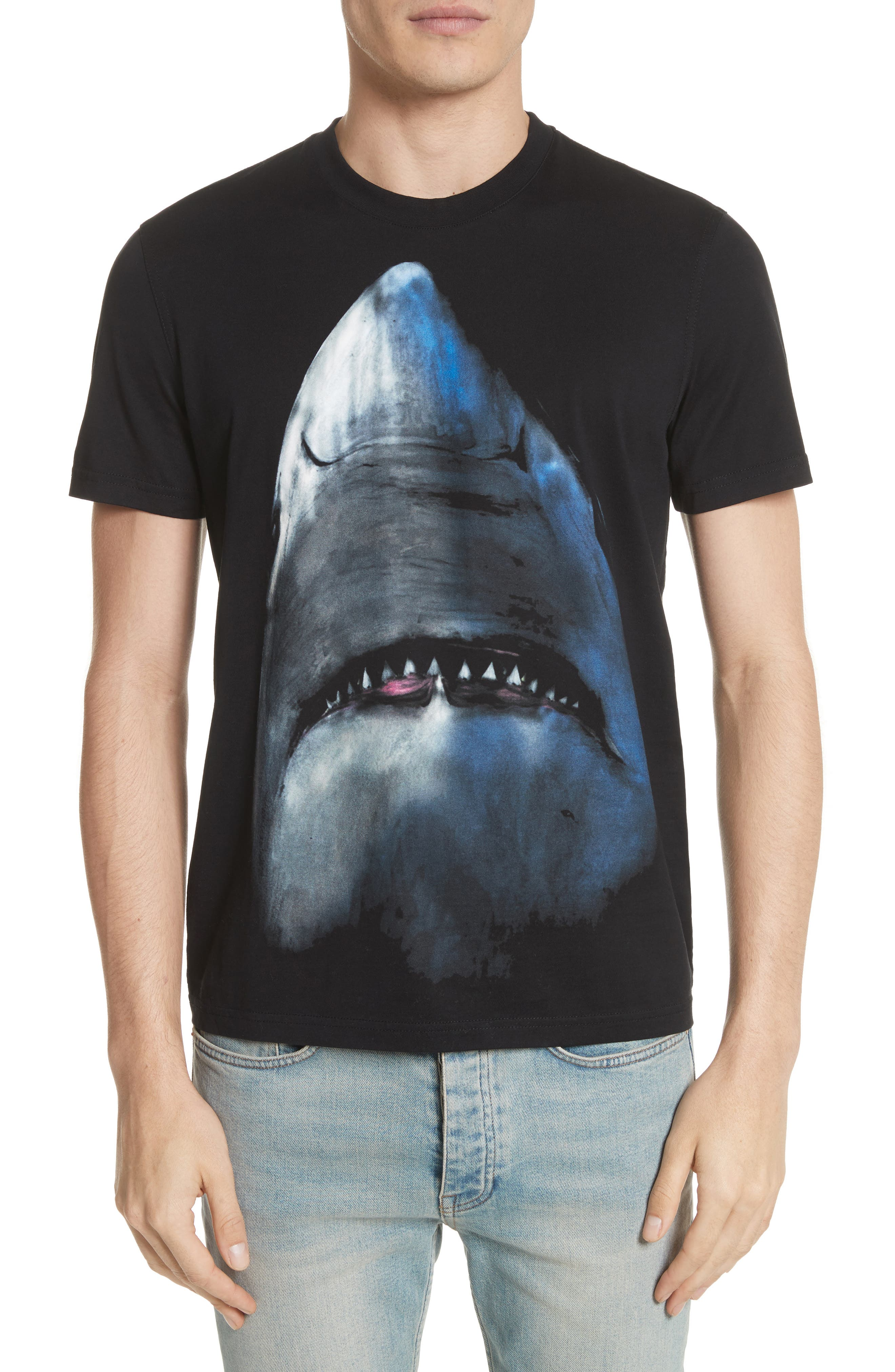 Shark T-Shirt,                         Main,                         color, BLACK