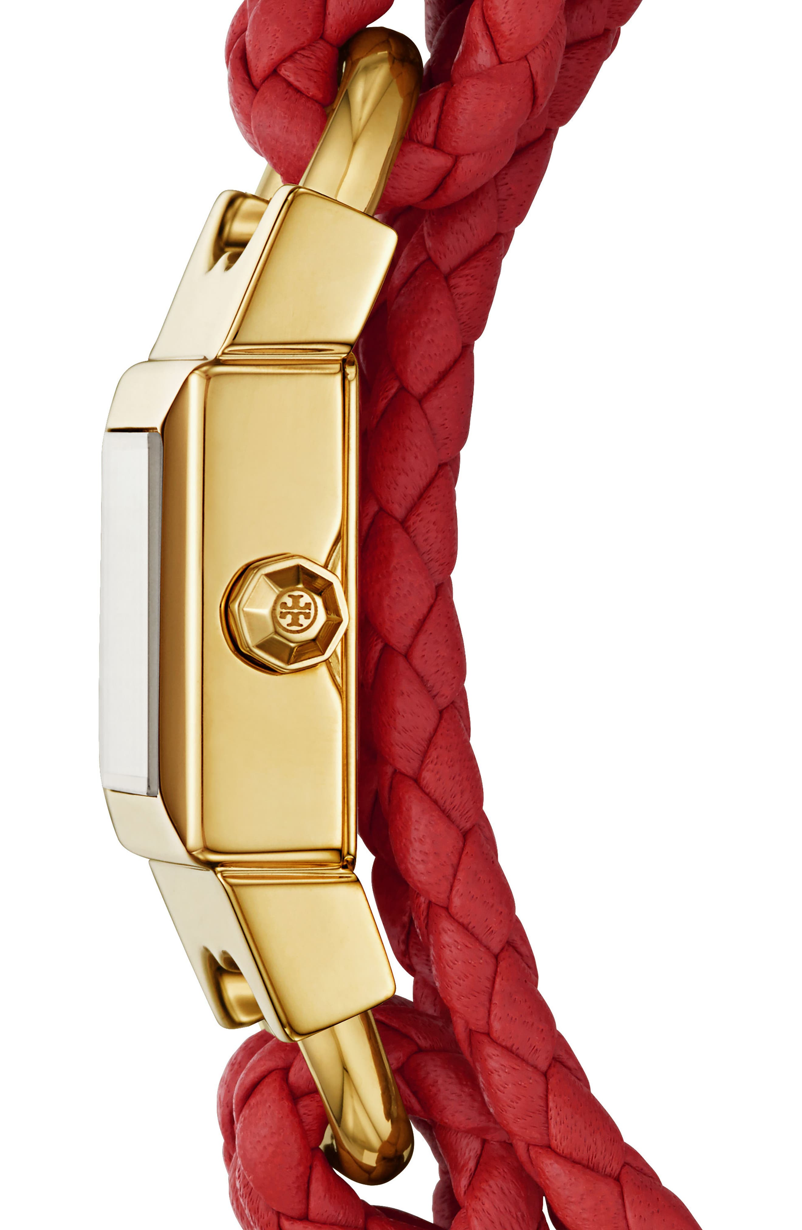 TORY BURCH,                             Gemini Link Square Leather Strap Watch, 18mm,                             Alternate thumbnail 2, color,                             RED/ CREAM/ GOLD