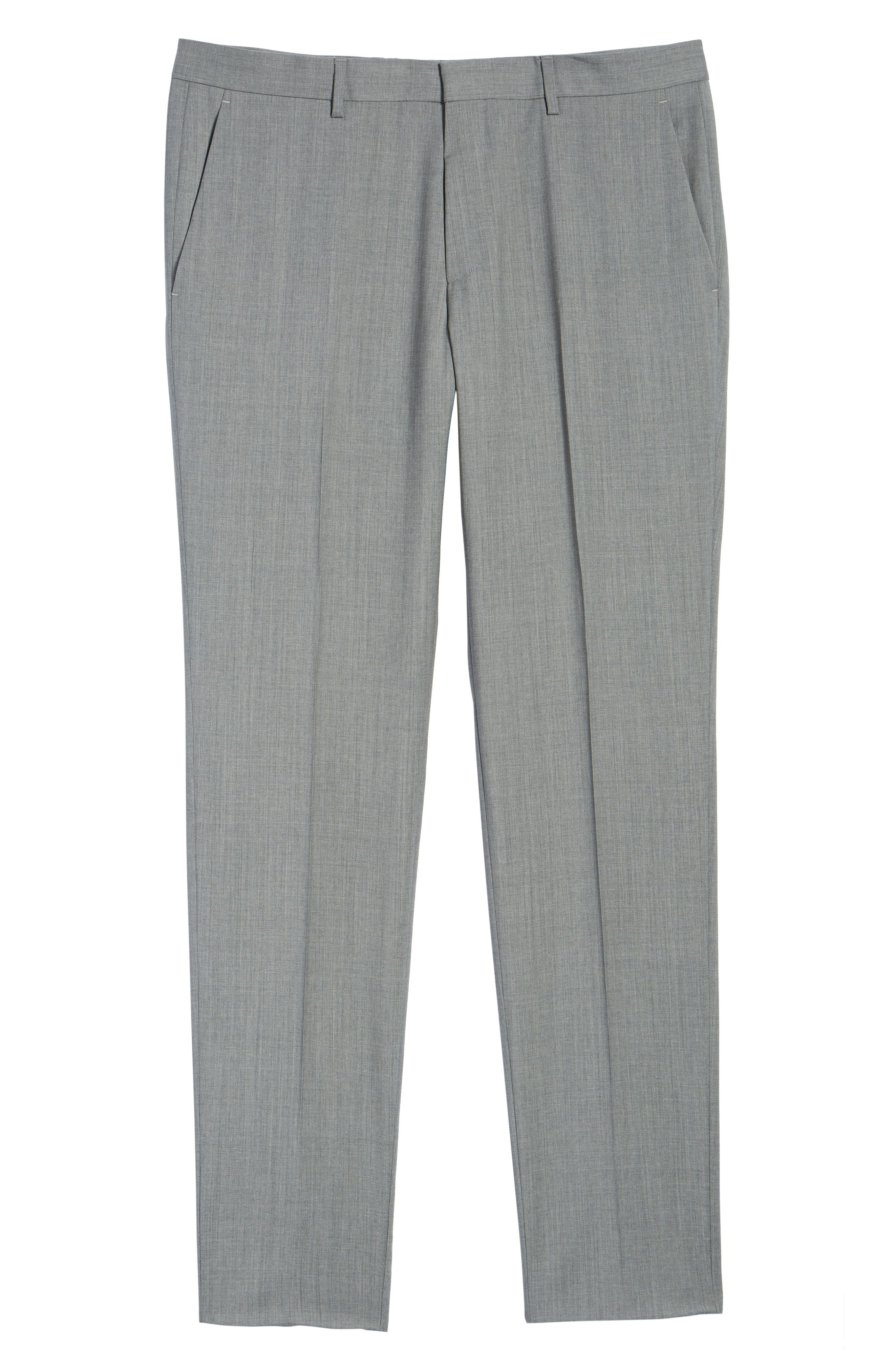 Genesis Flat Front Trim Fit Wool Trousers,                             Alternate thumbnail 7, color,                             GREY
