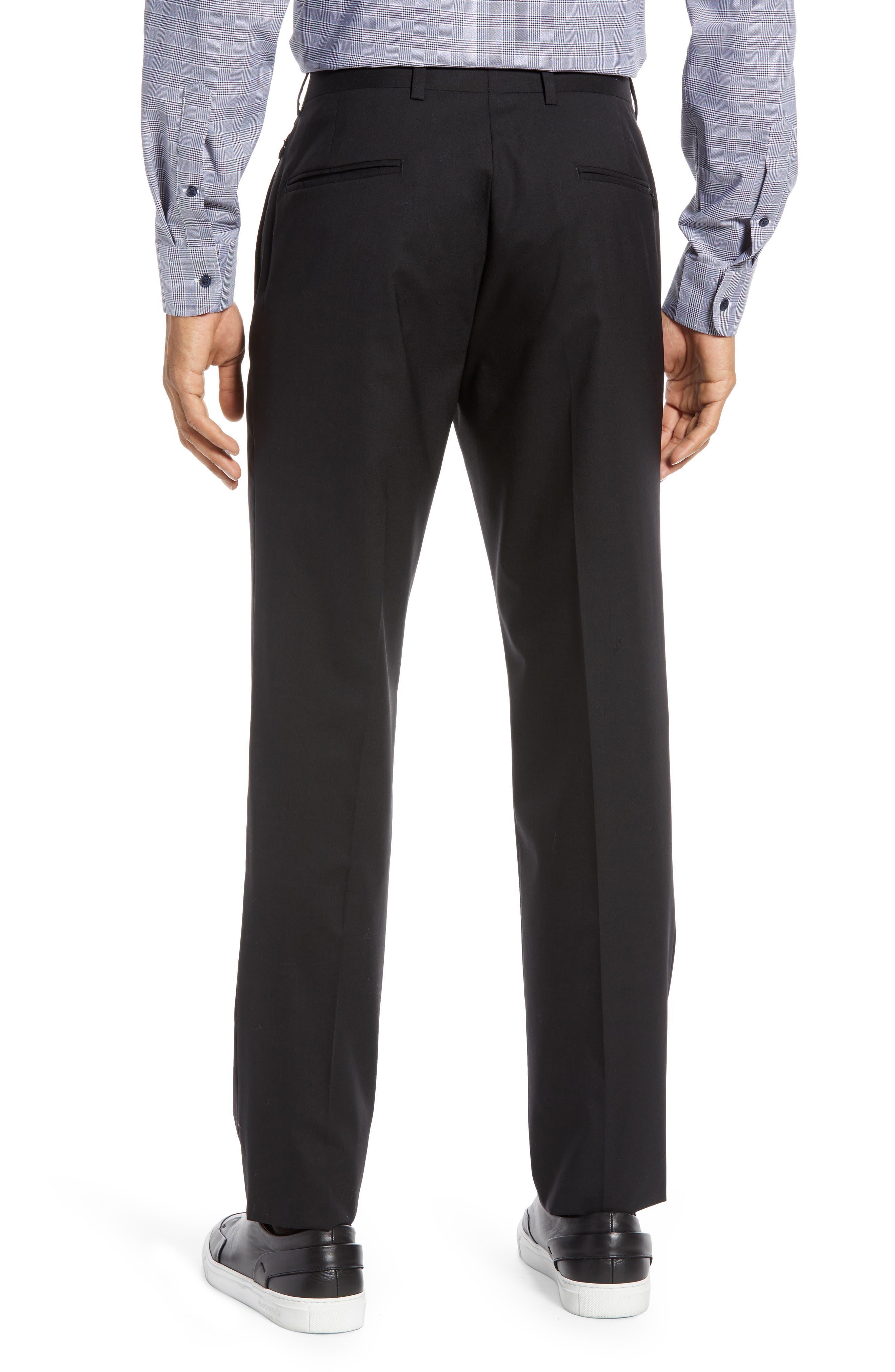 NORDSTROM MEN'S SHOP,                             Tech-Smart Trim Fit Stretch Wool Travel Trousers,                             Alternate thumbnail 2, color,                             BLACK