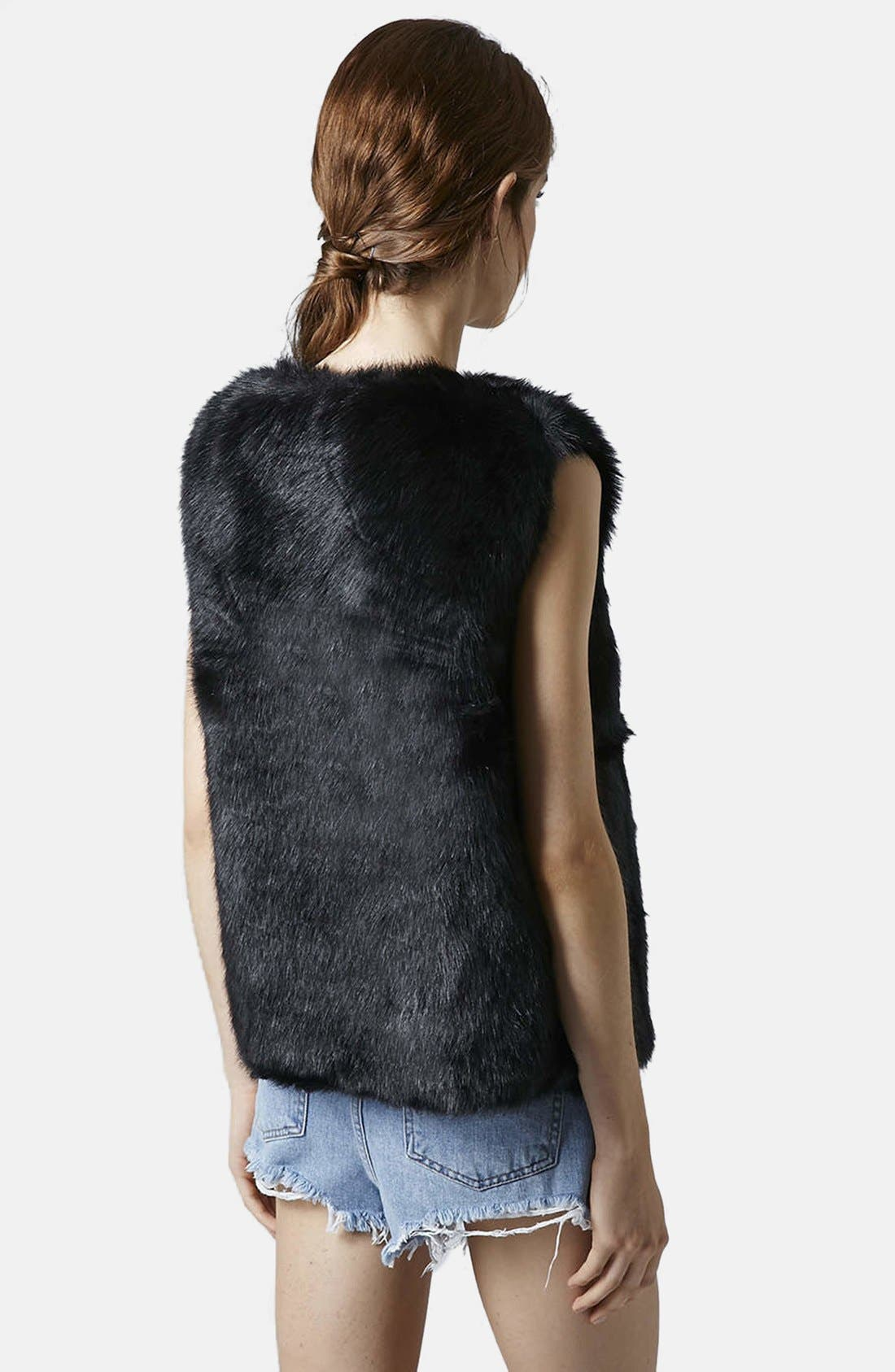 Faux Fur Gilet Vest,                             Alternate thumbnail 4, color,                             001
