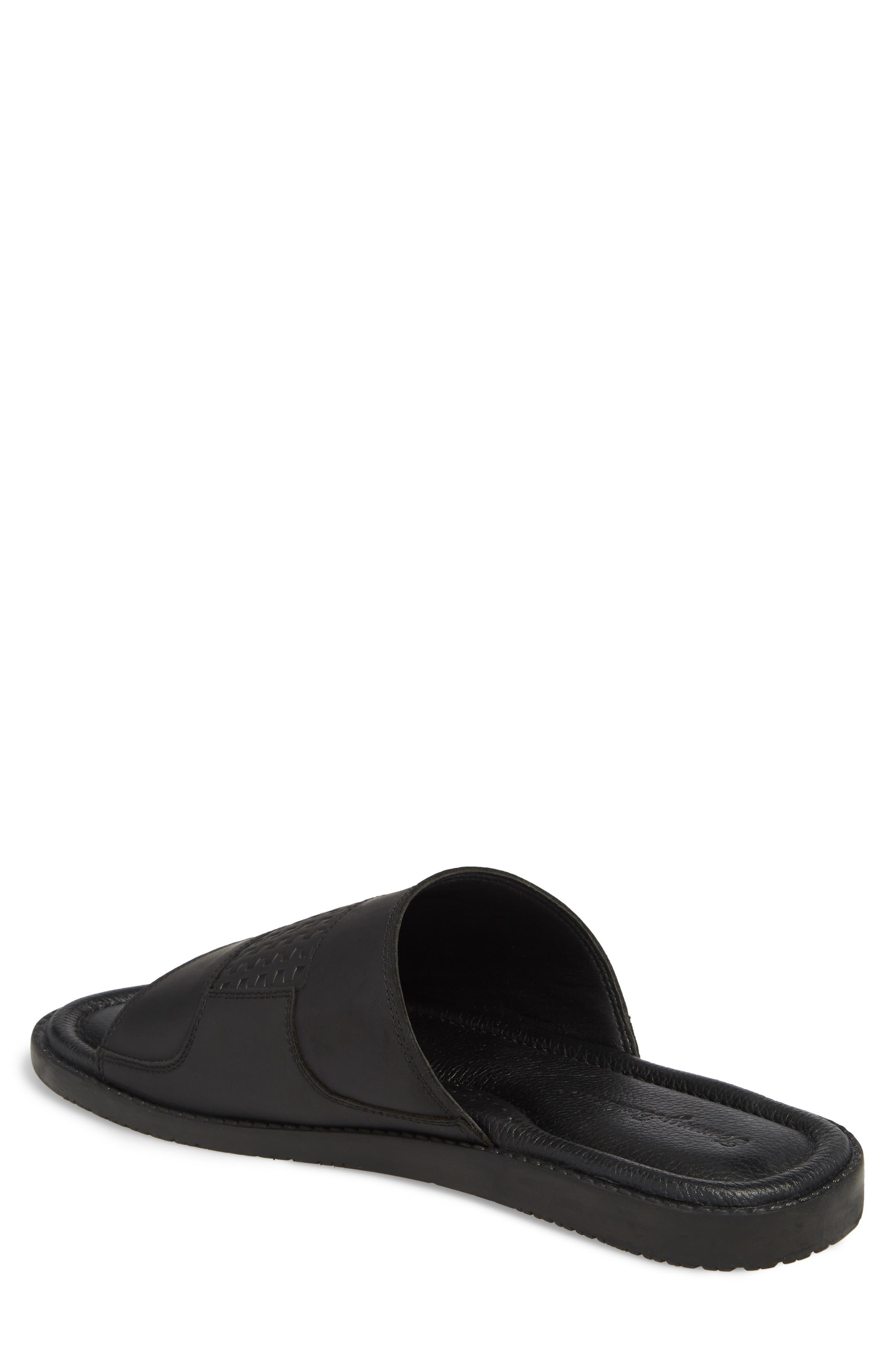 Gennadi Palms Slide Sandal,                             Alternate thumbnail 2, color,                             BLACK LEATHER