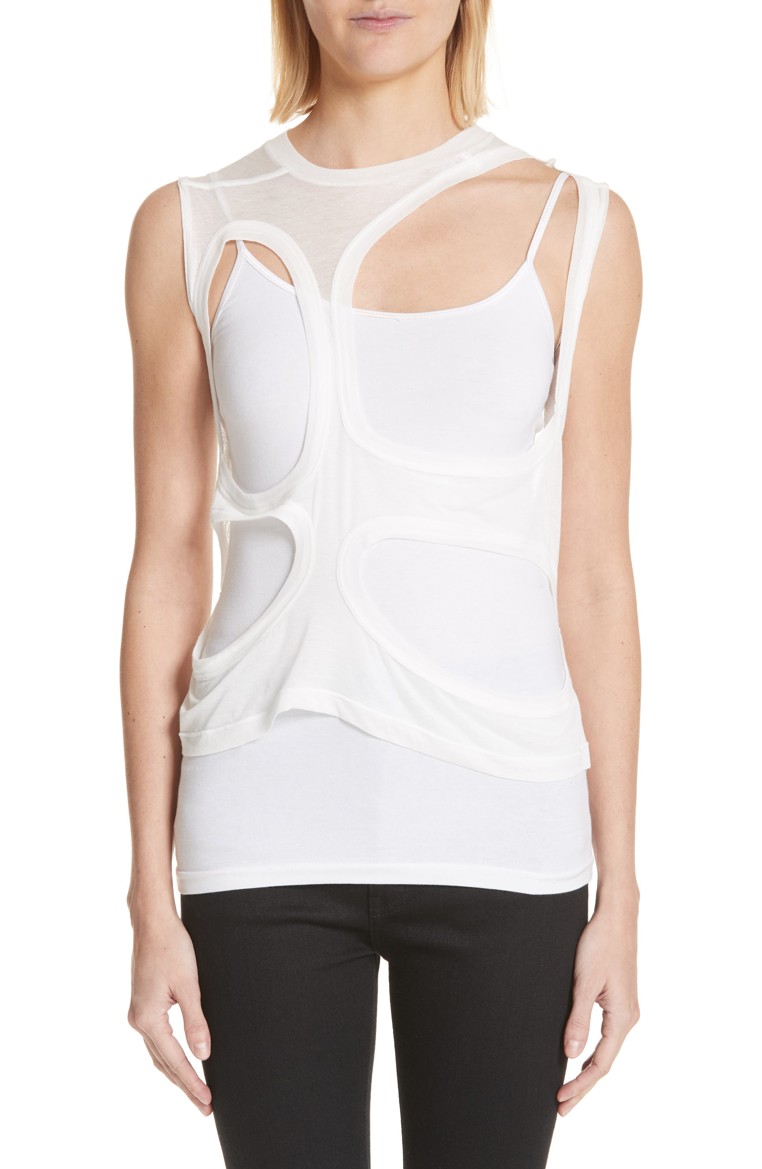 Membrane Cutout Tank Top,                             Main thumbnail 1, color,                             110