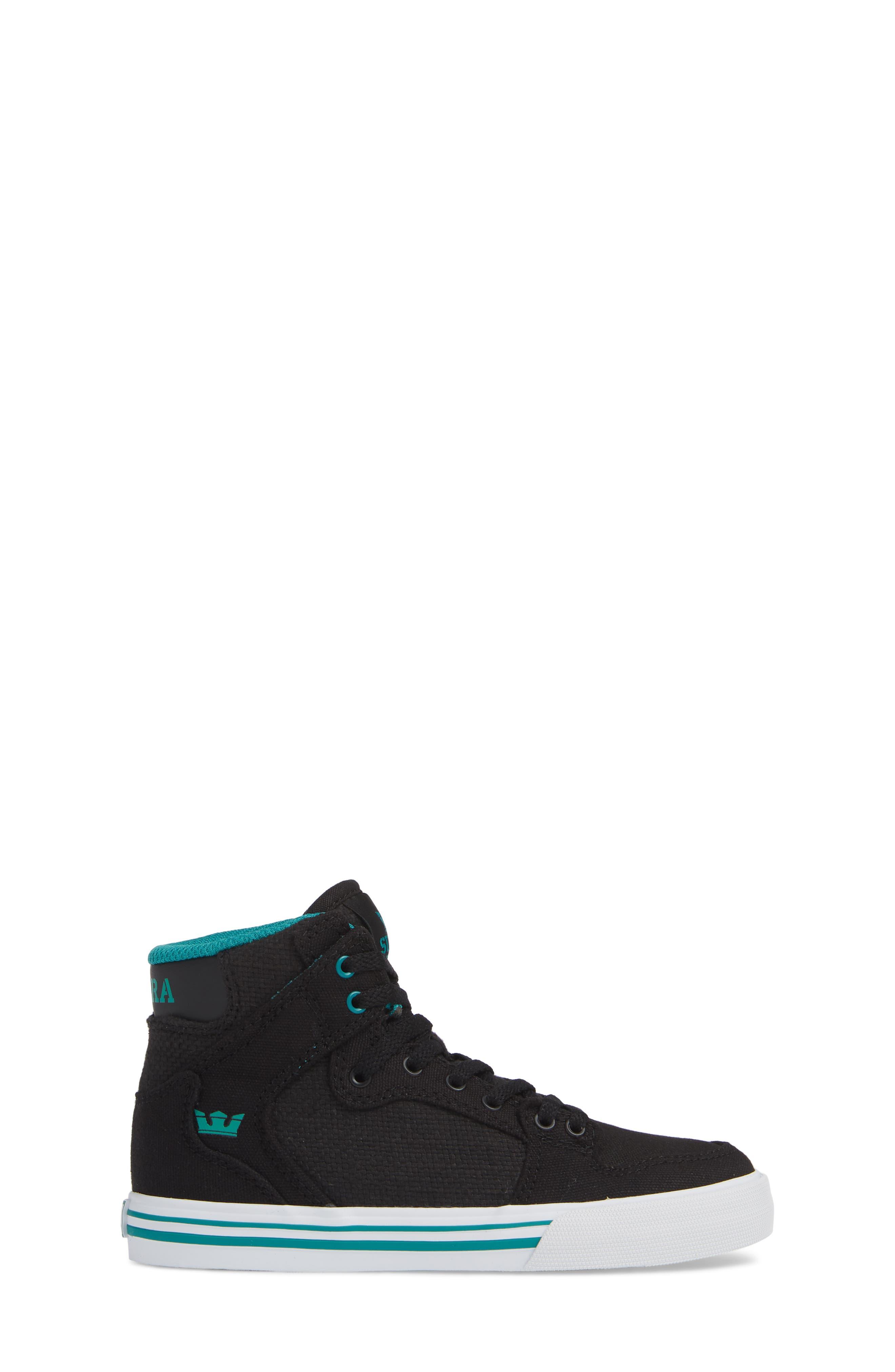 'Vaider' High Top Sneaker,                             Alternate thumbnail 3, color,                             BLACK/ TEAL