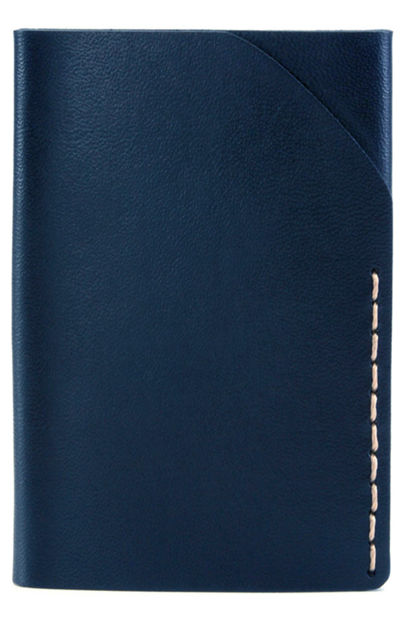 No. 2 Leather Card Case,                         Main,                         color, NAVY
