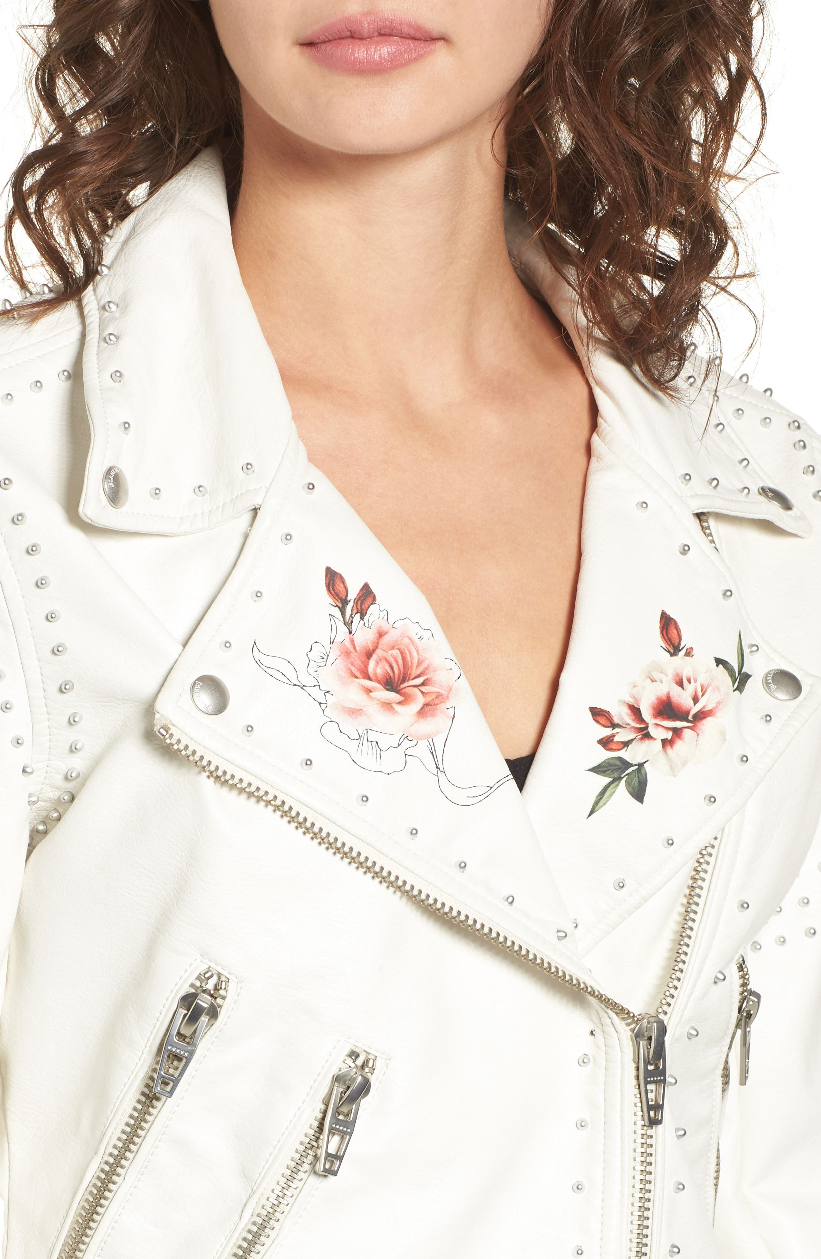 Printed Studded Moto Jacket,                             Alternate thumbnail 8, color,