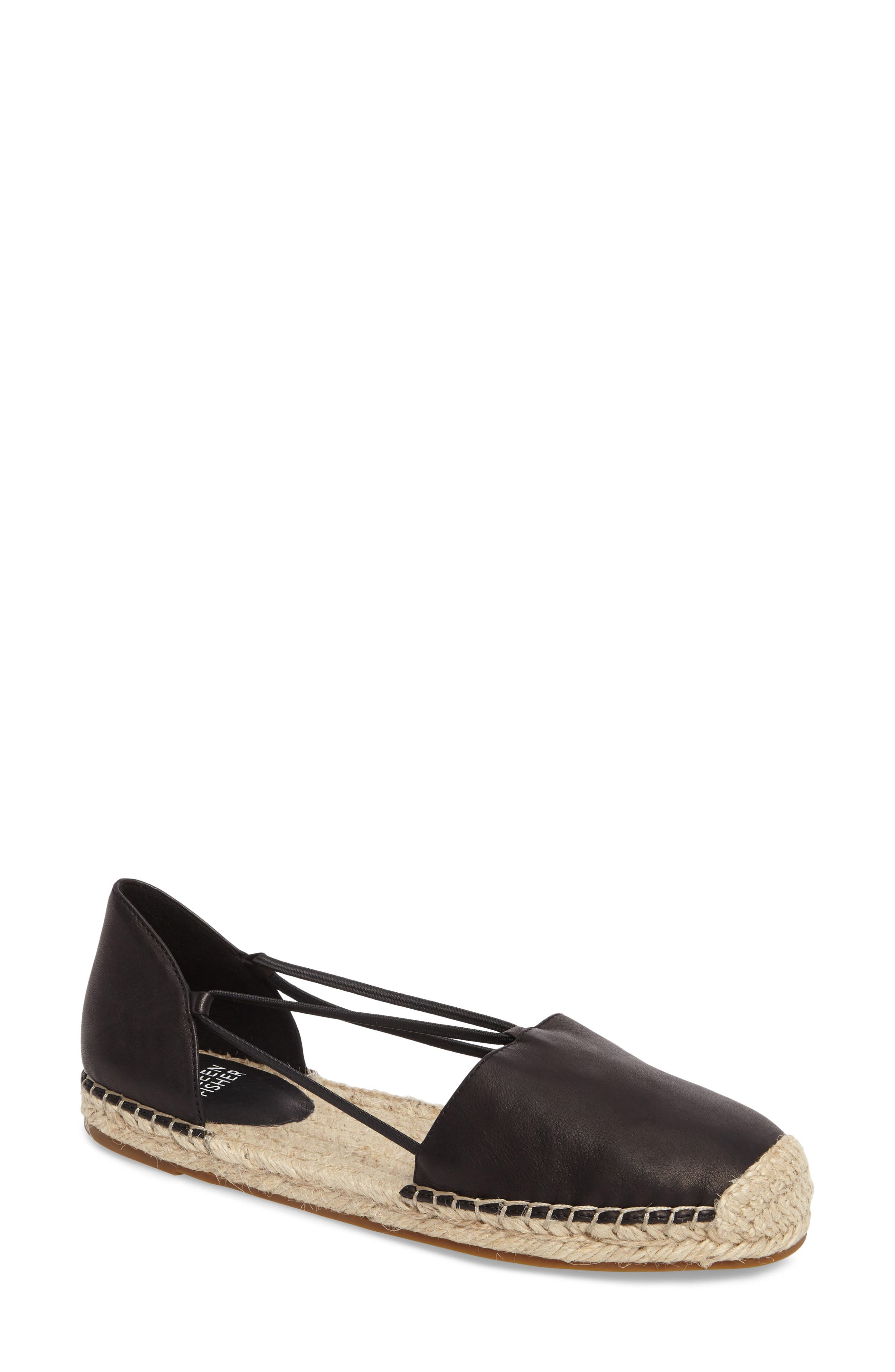 Lee Espadrille Flat,                             Main thumbnail 1, color,                             BLACK WASHED LEATHER