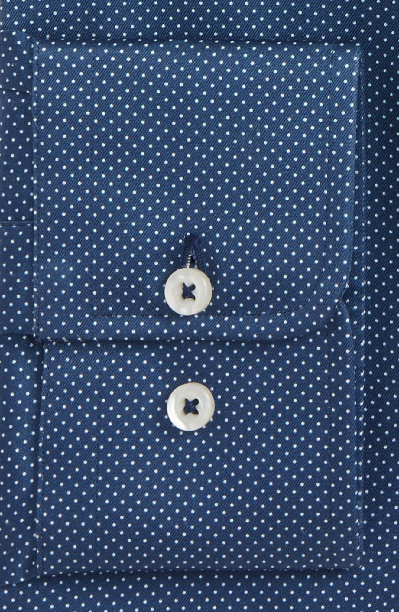 Trim Fit Dot Dress Shirt,                             Alternate thumbnail 4, color,