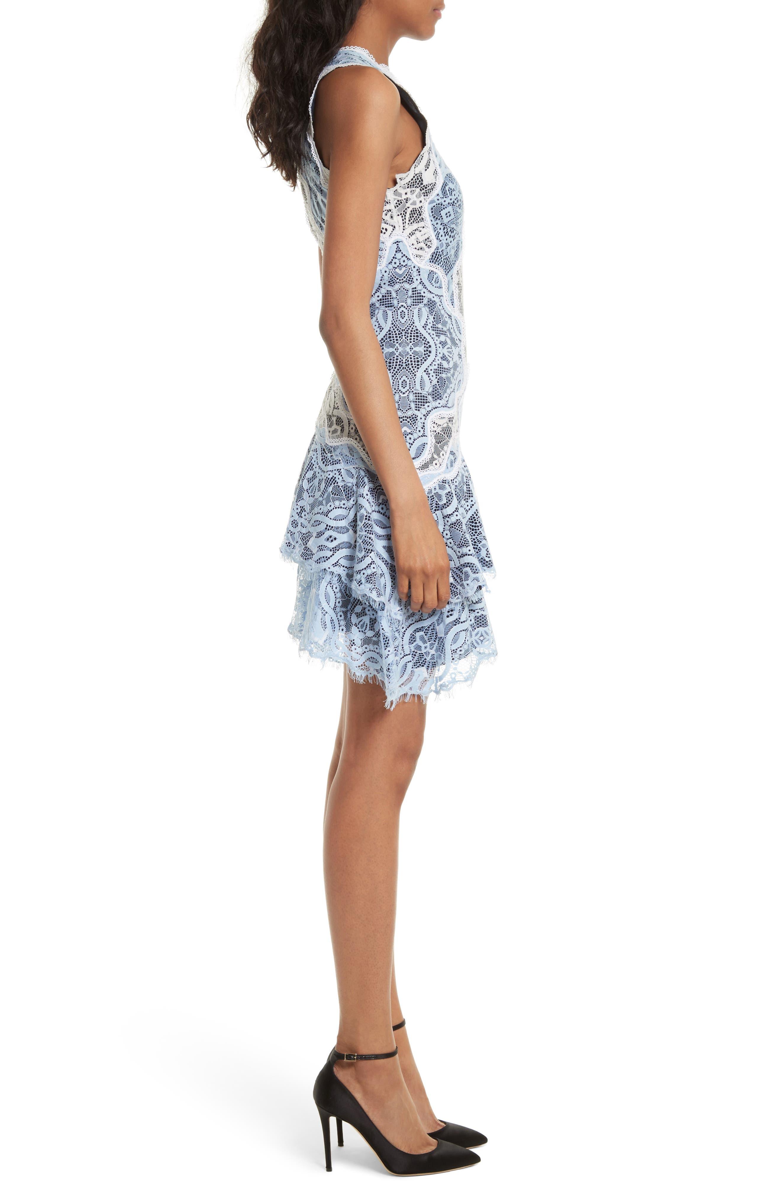 Two-Tone Lace Ruffle Hem Minidress,                             Alternate thumbnail 3, color,                             499