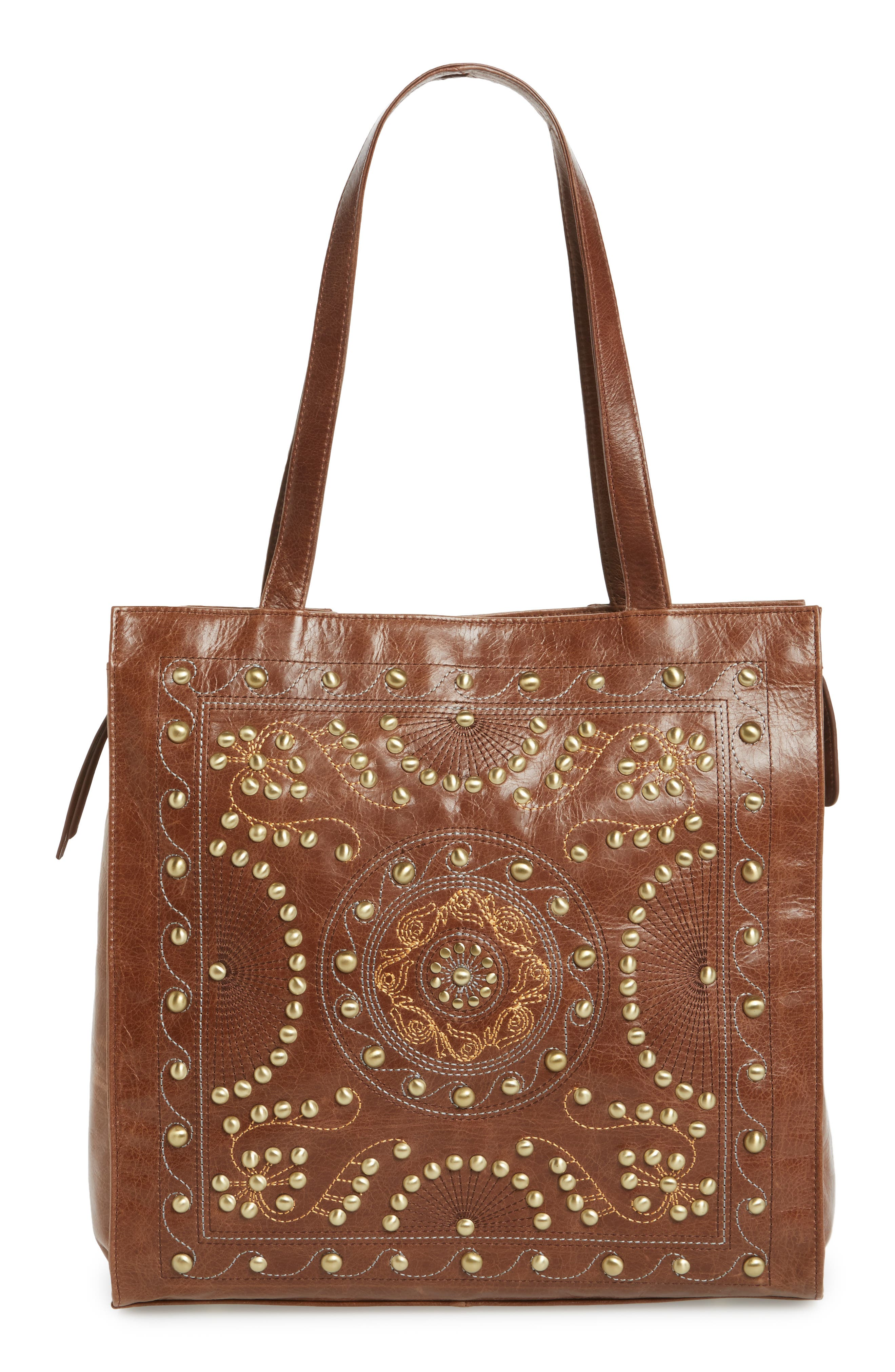 Avalon Studded Calfskin Leather Tote,                             Main thumbnail 3, color,
