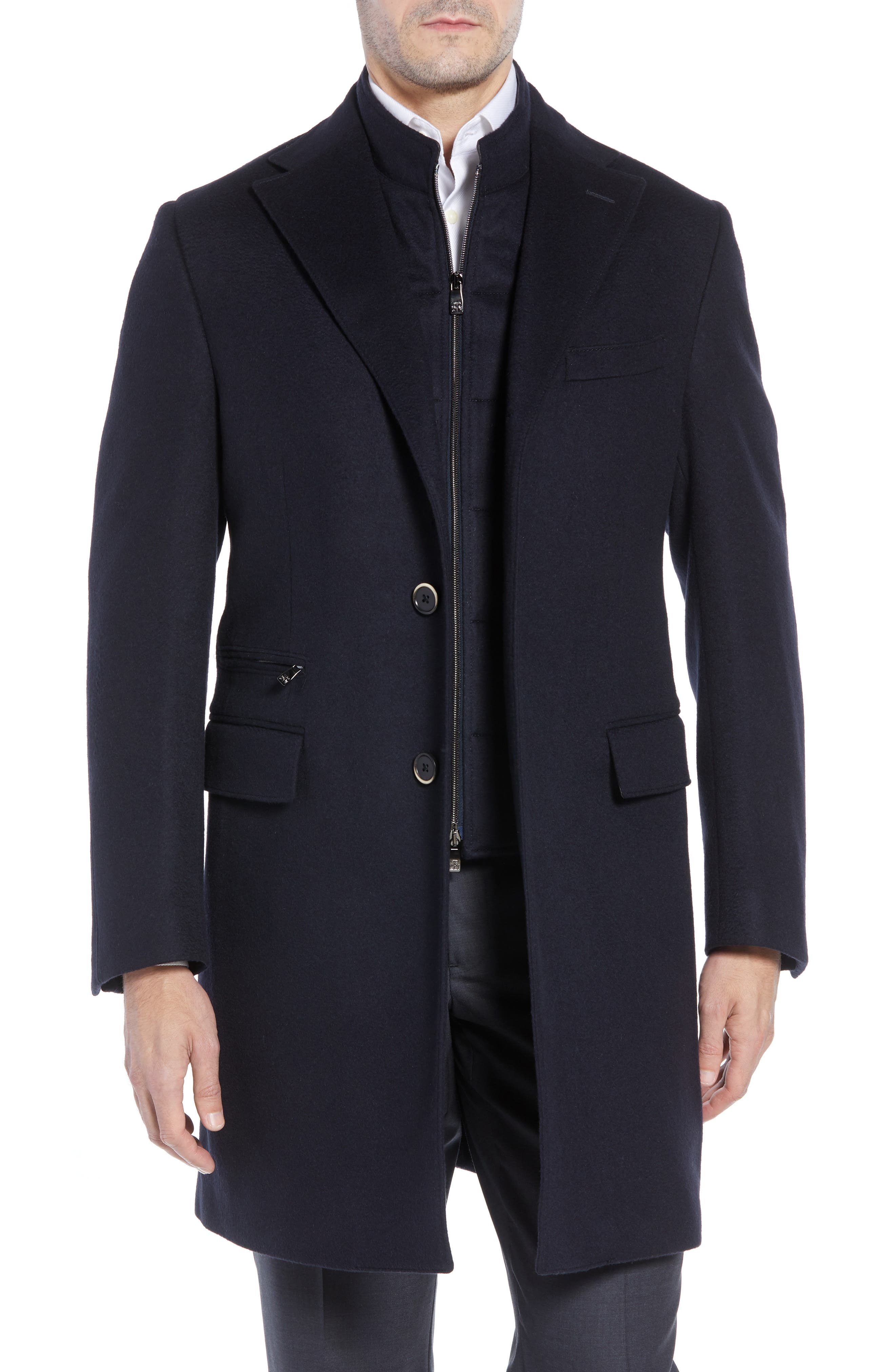 Solid Wool Topcoat,                         Main,                         color, NAVY