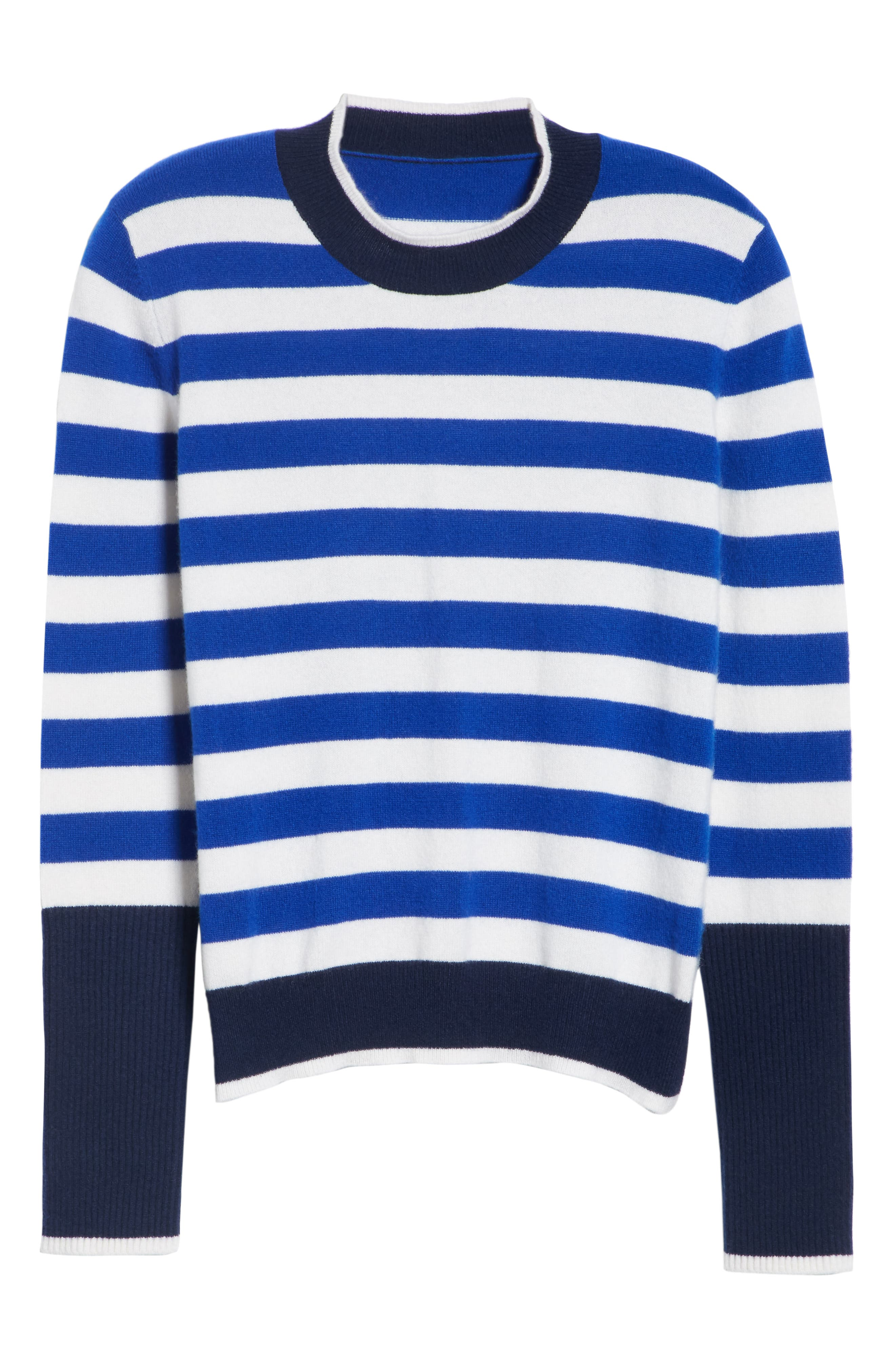 L'Universite Cashmere Sweater,                             Alternate thumbnail 6, color,                             BRIGHT BLUE/ CREAM/ NAVY