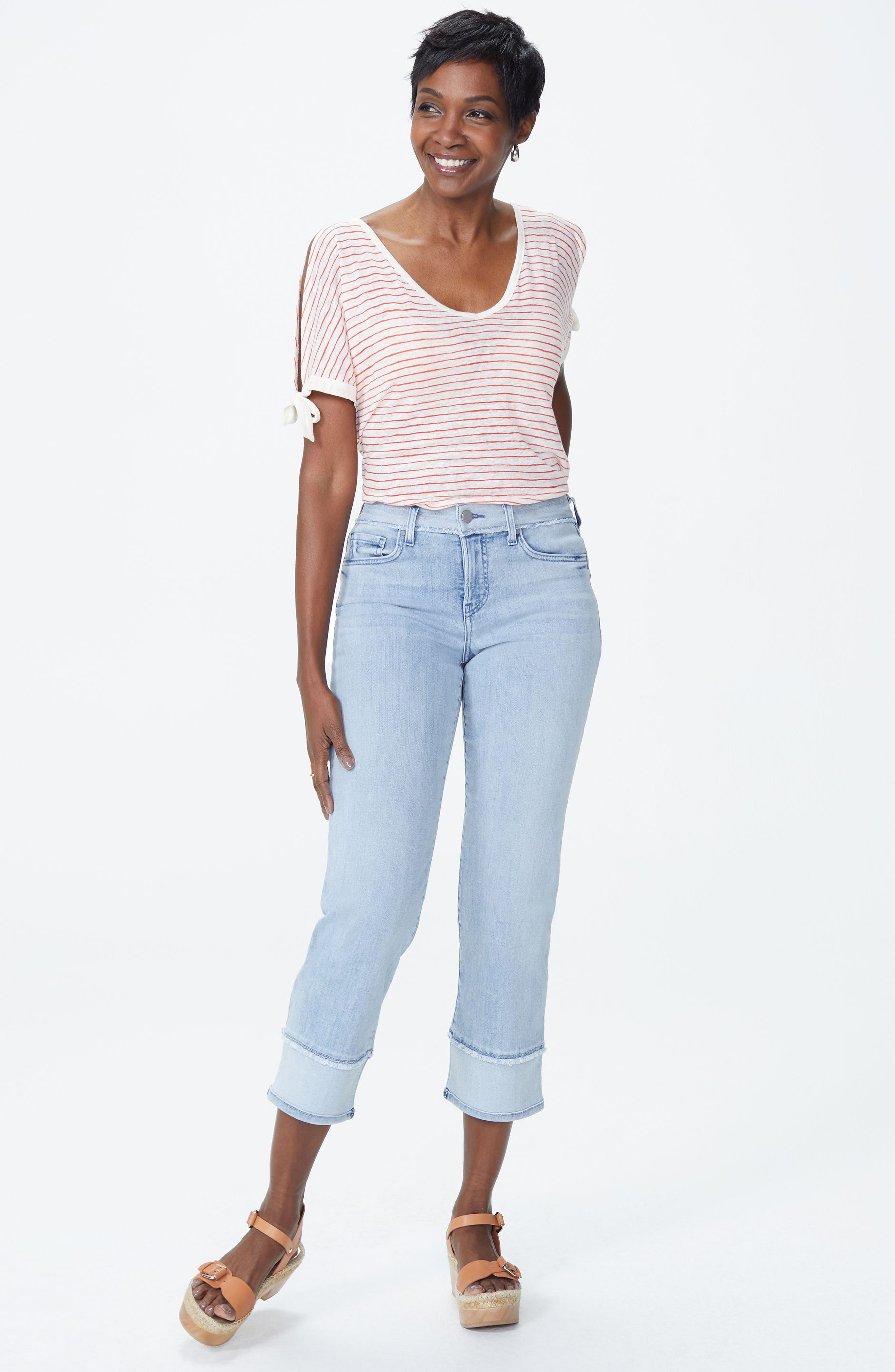 NYDJ,                             Jenna High Waist Straight Leg Reverse Fray Ankle Jeans,                             Alternate thumbnail 5, color,                             421