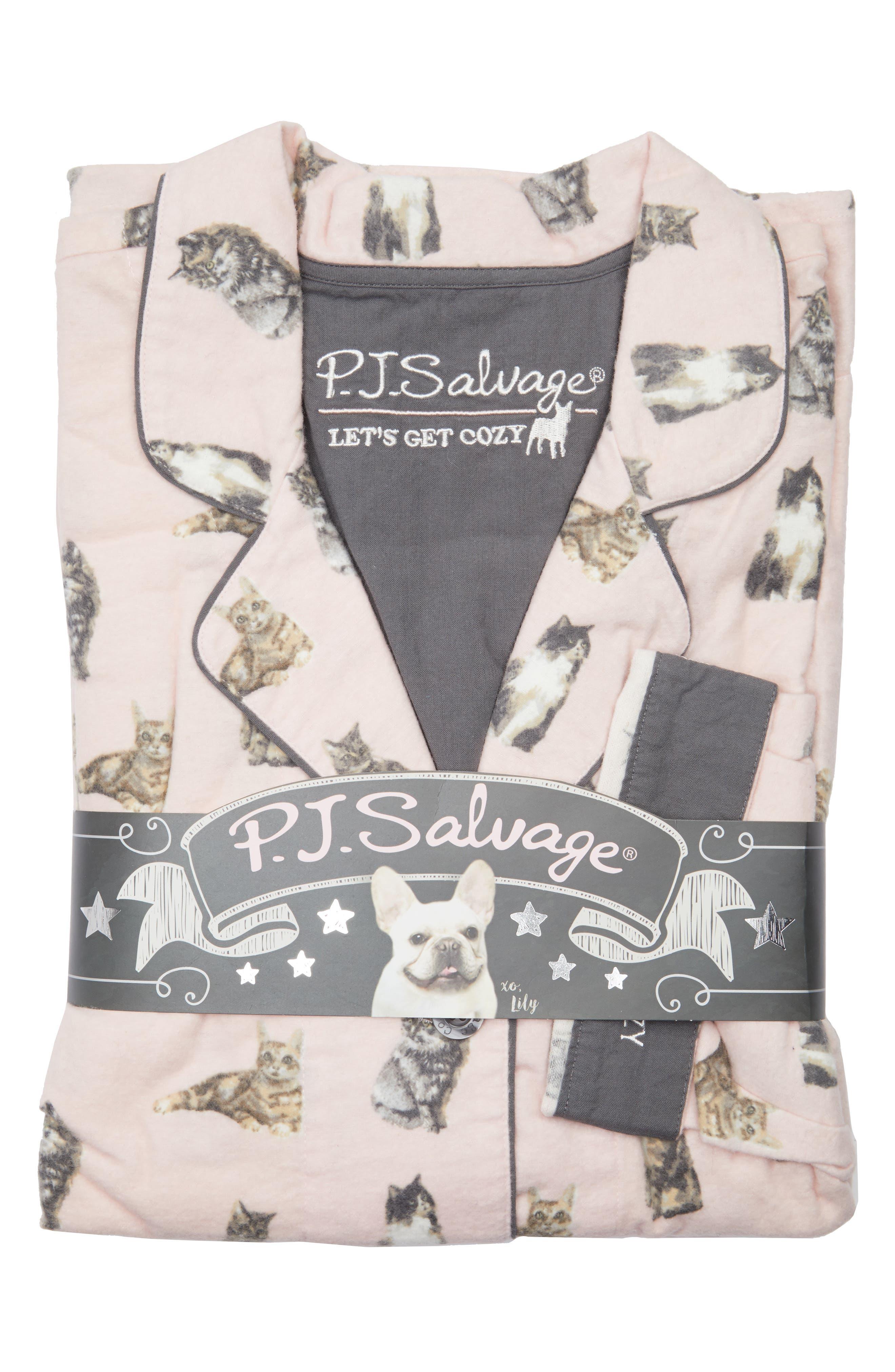 PJ SALVAGE,                             Print Flannel Pajamas,                             Alternate thumbnail 7, color,                             650