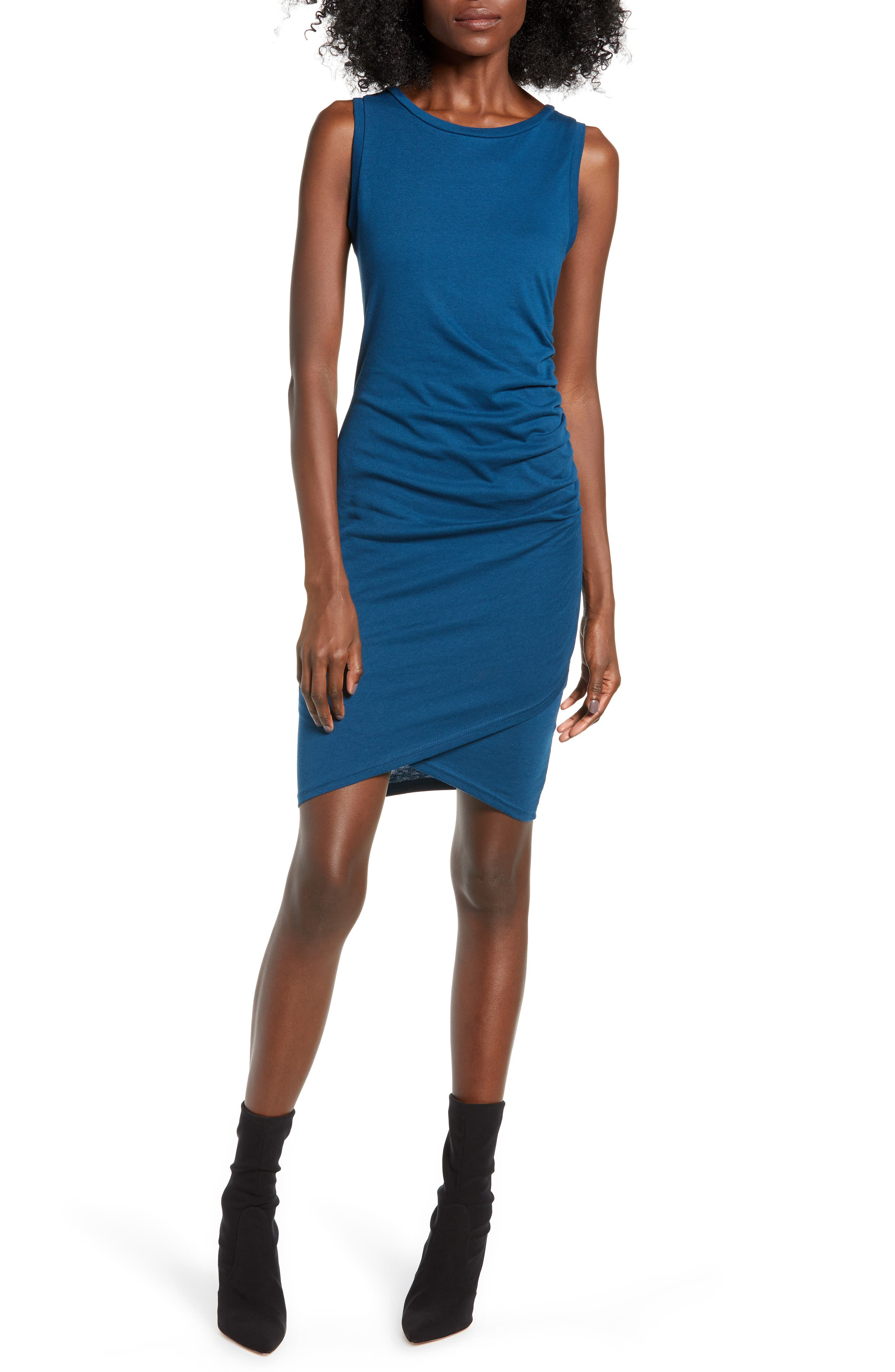Leith Ruched Body-Con Tank Dress, Blue