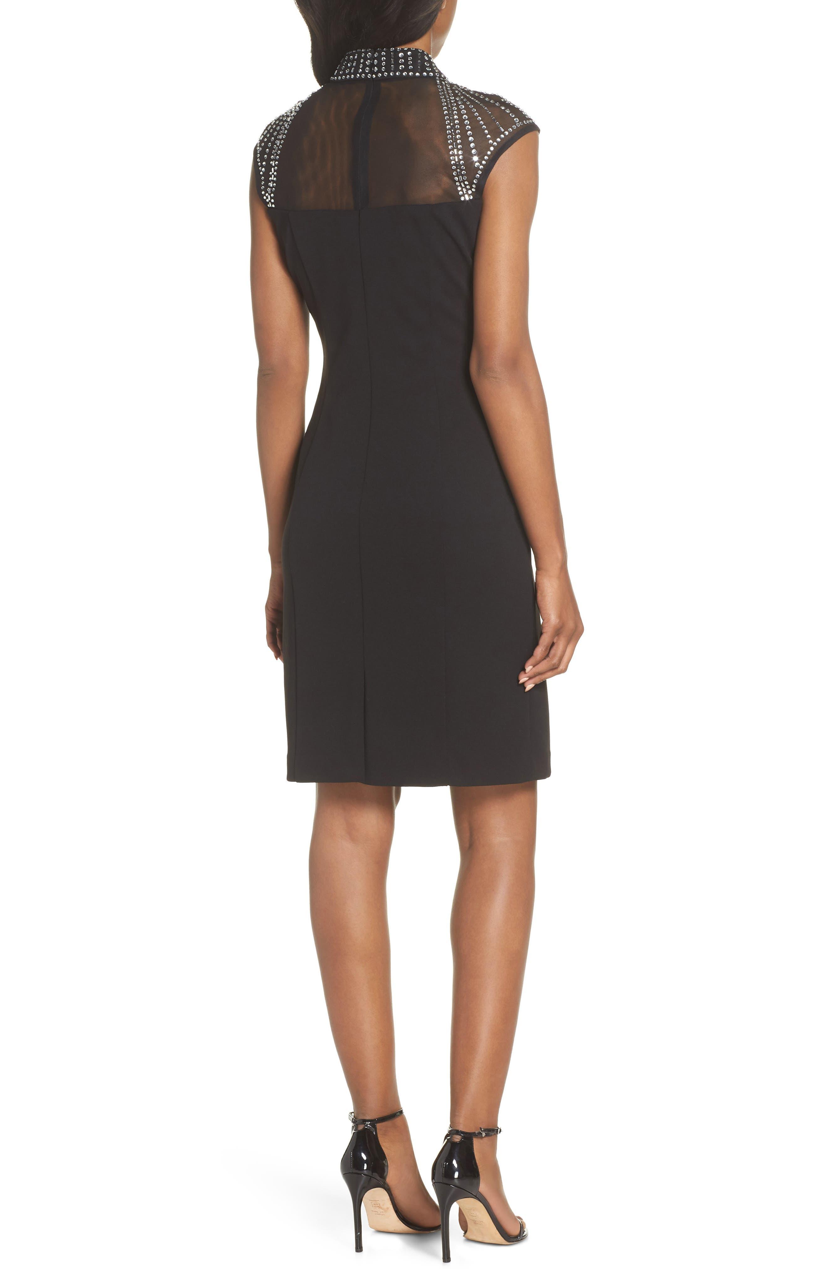 Crystal Yoke Sheath Dress,                             Alternate thumbnail 2, color,                             BLACK