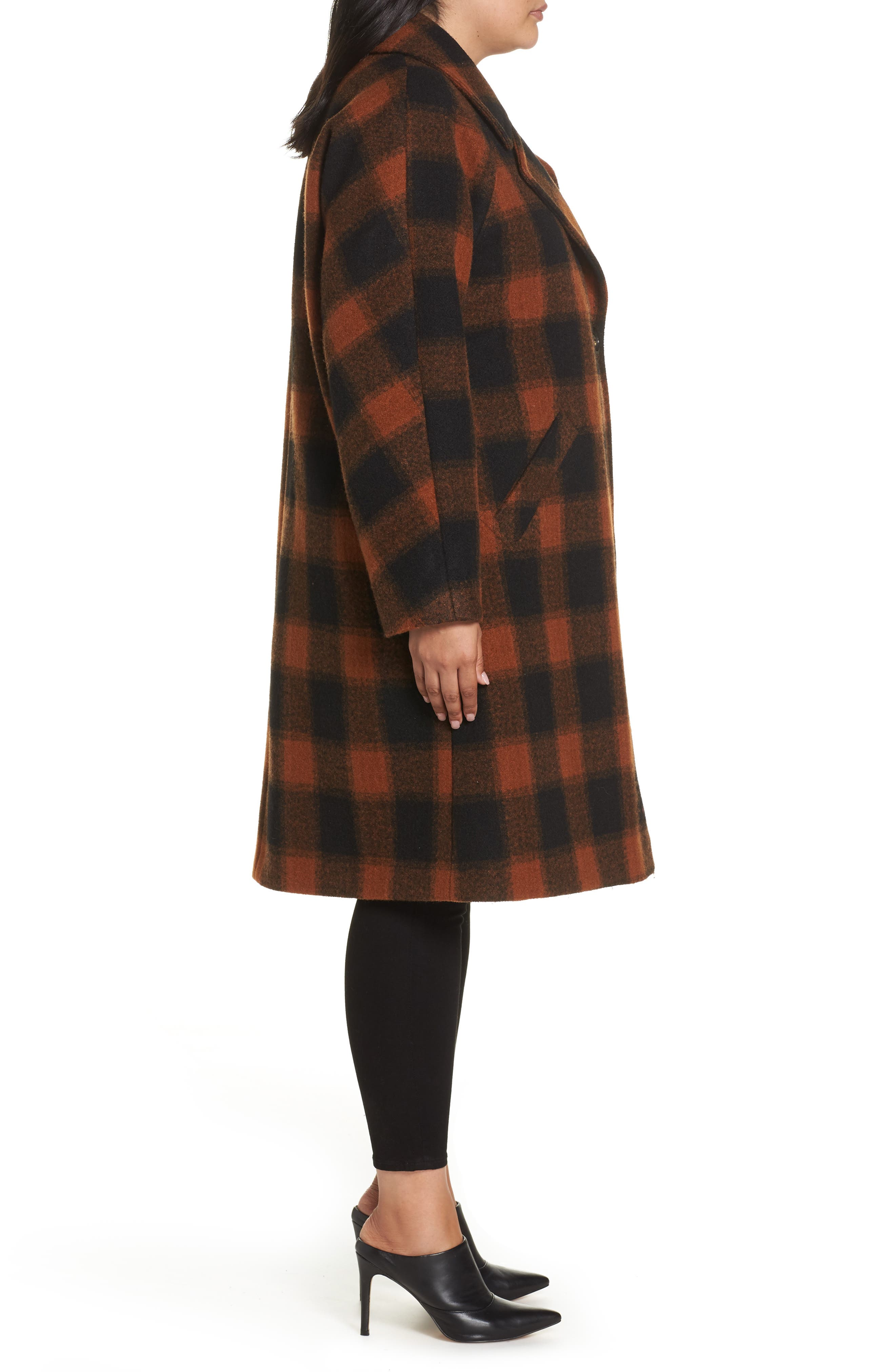 Oversize Boiled Wool Coat,                             Alternate thumbnail 3, color,                             PLAID