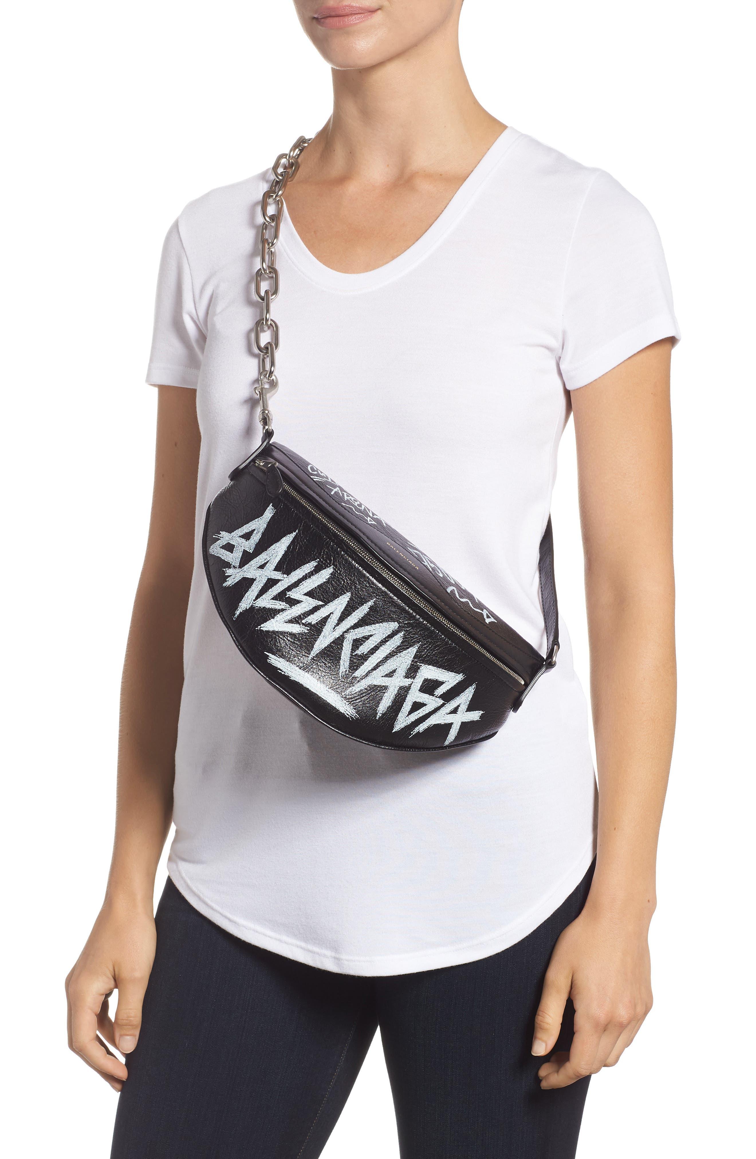 Graffiti Souvenir Leather Belt Bag,                             Alternate thumbnail 3, color,                             NOIR/ BLANC