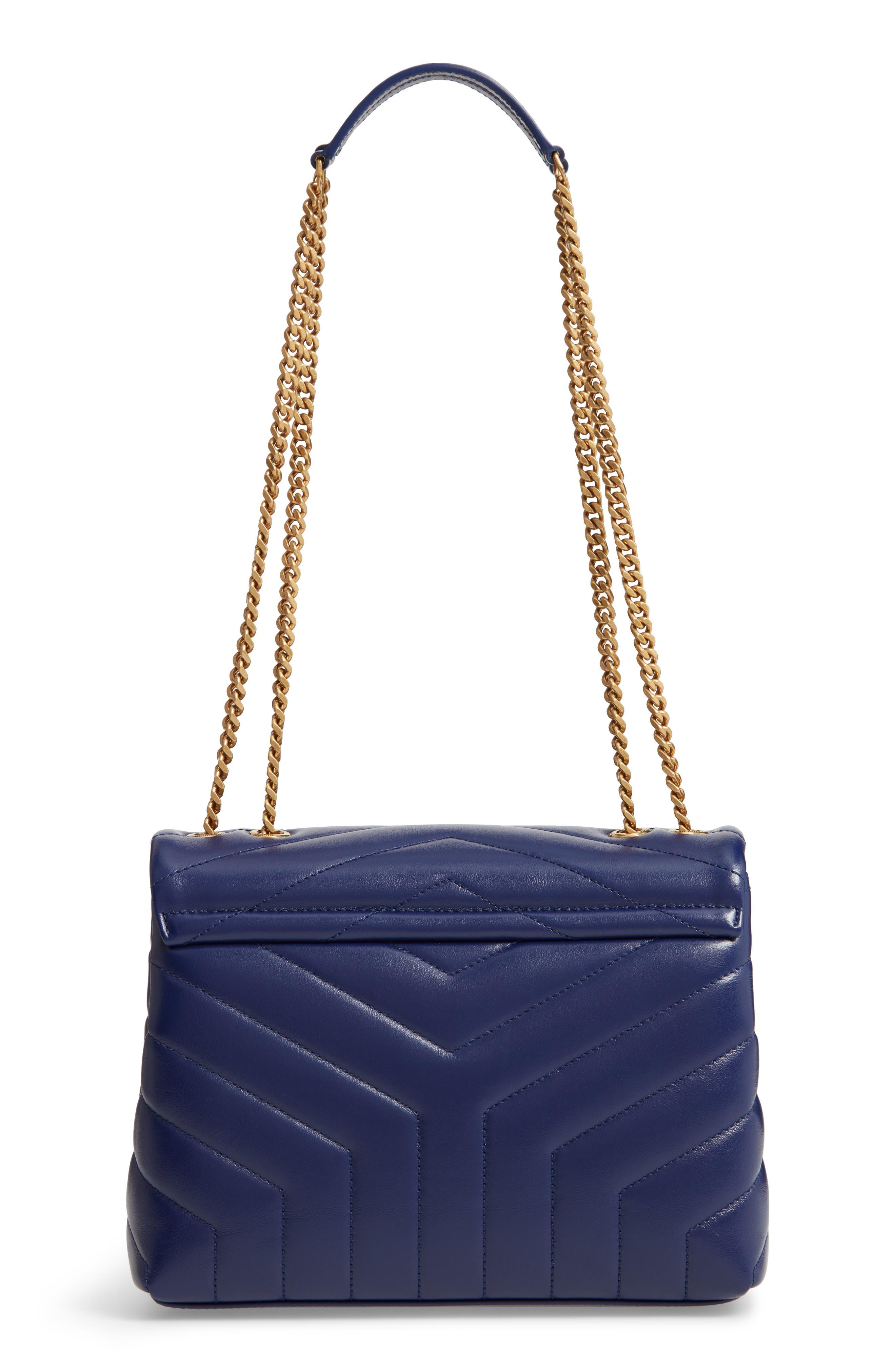 Small Loulou Leather Shoulder Bag,                             Alternate thumbnail 3, color,                             SAPHIR