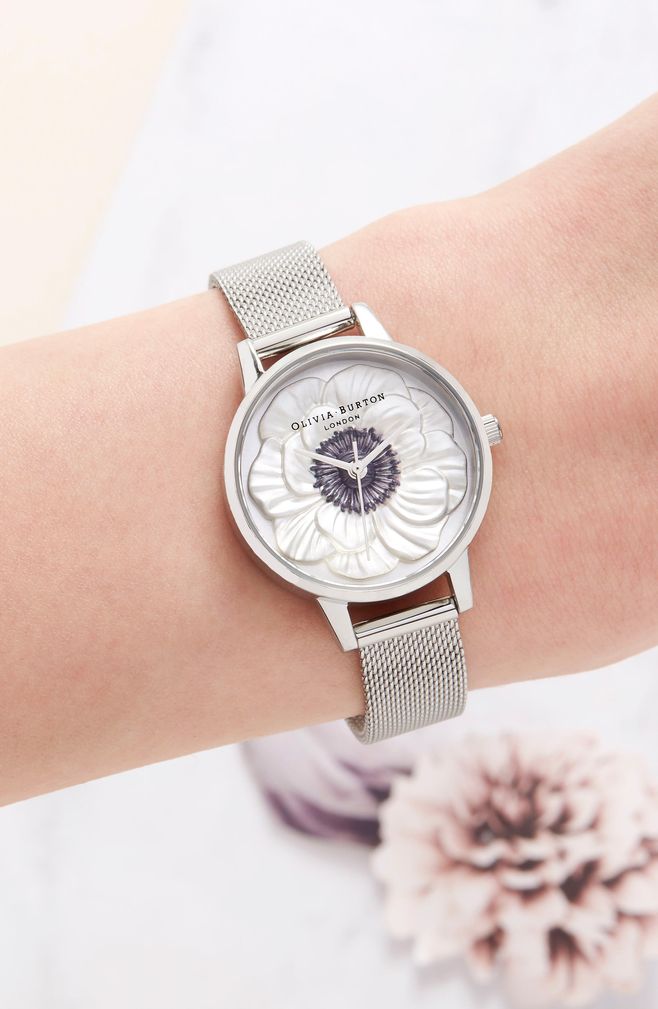 3D Anemone Mesh Strap Watch, 30mm,                             Alternate thumbnail 7, color,                             SILVER/ BLACK/ SILVER