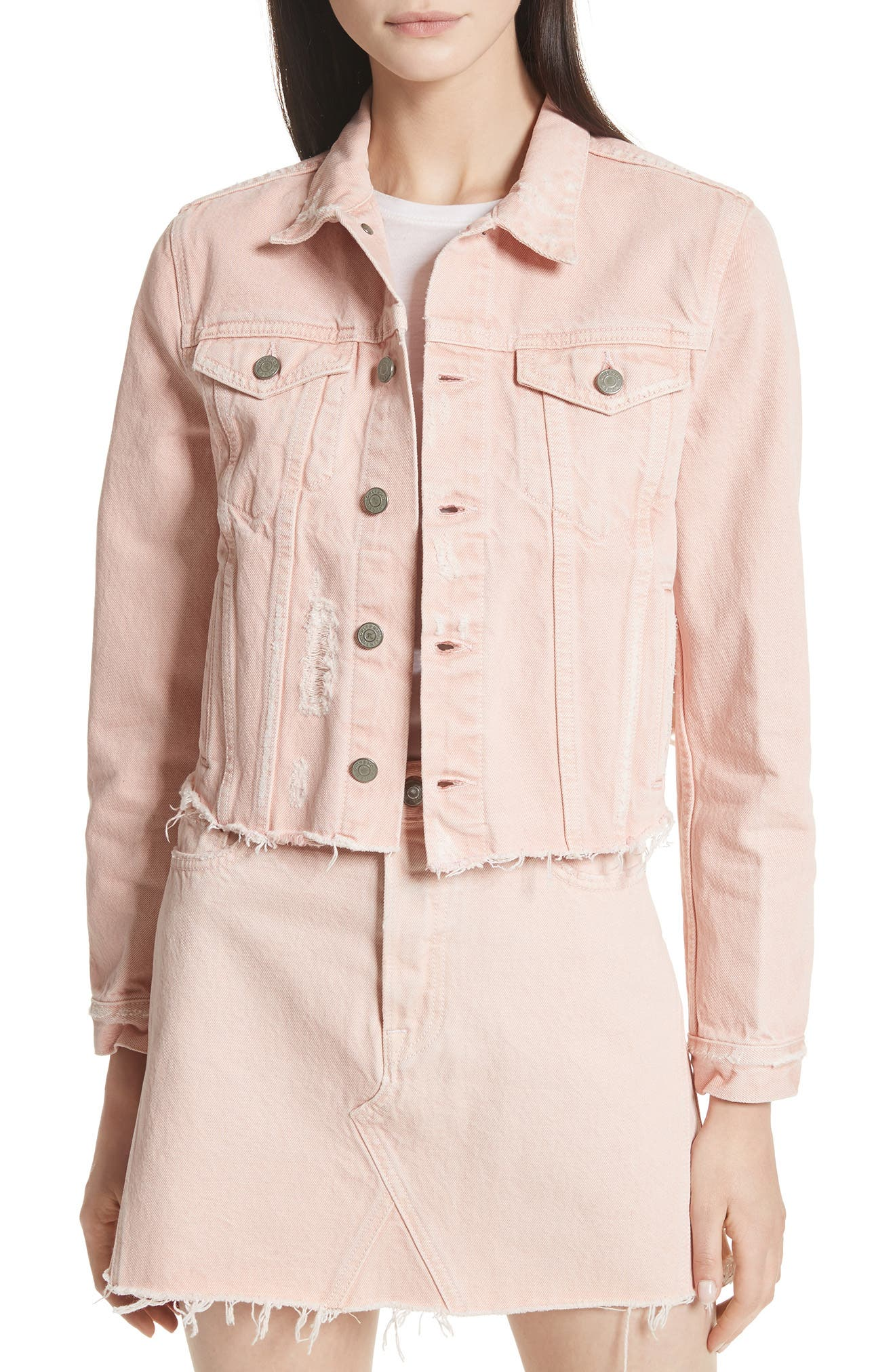 Cara Crop Denim Jacket,                         Main,                         color, 660