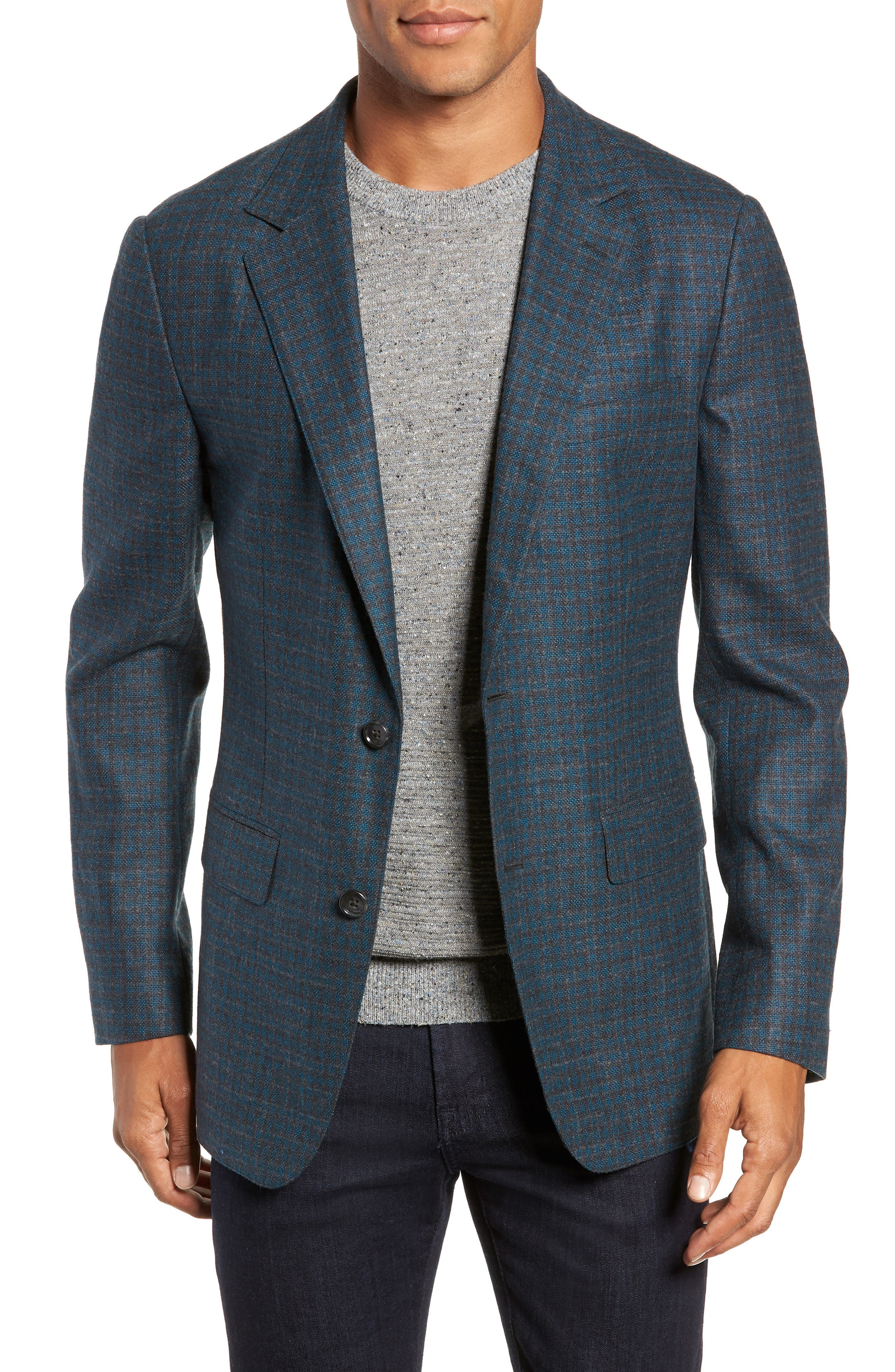 Jetsetter Slim Fit Unconstructed Blazer,                             Main thumbnail 1, color,                             TEAL AND GREY PLAID