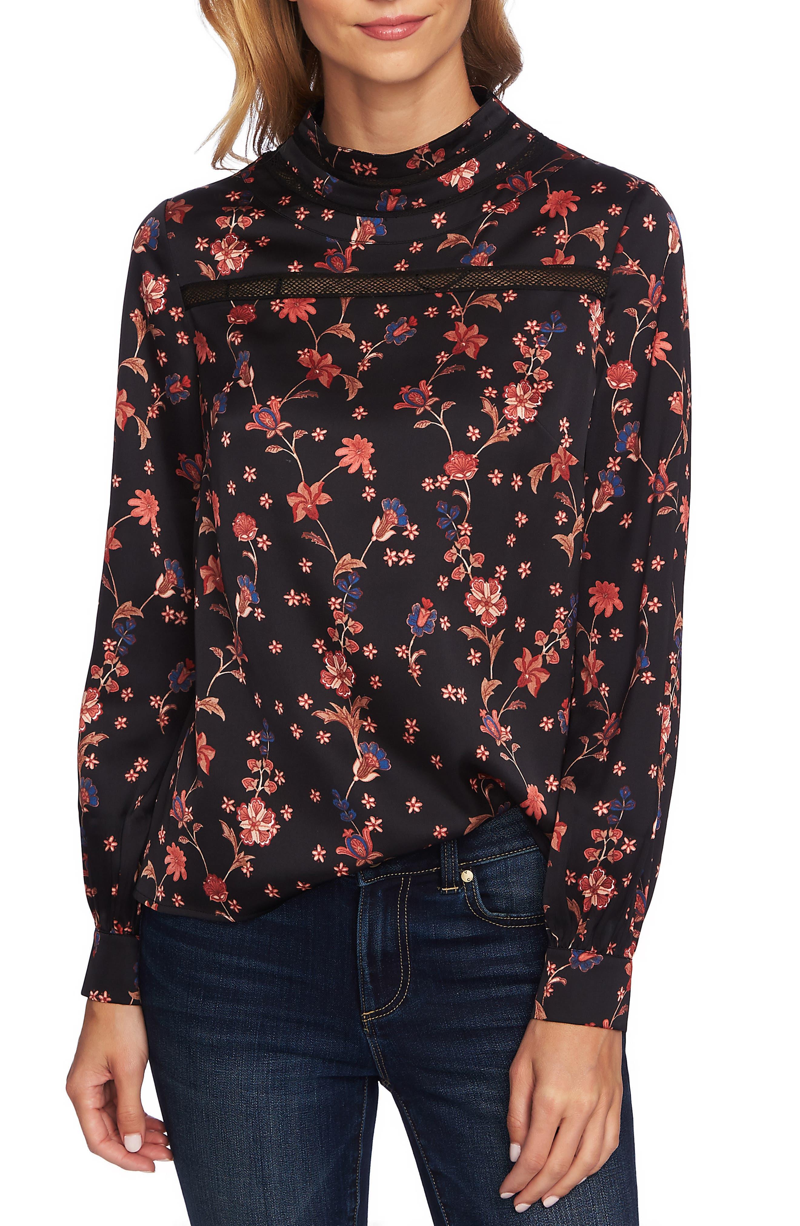 Bohemian Garden Crochet Detail Blouse,                         Main,                         color, RICH BLACK