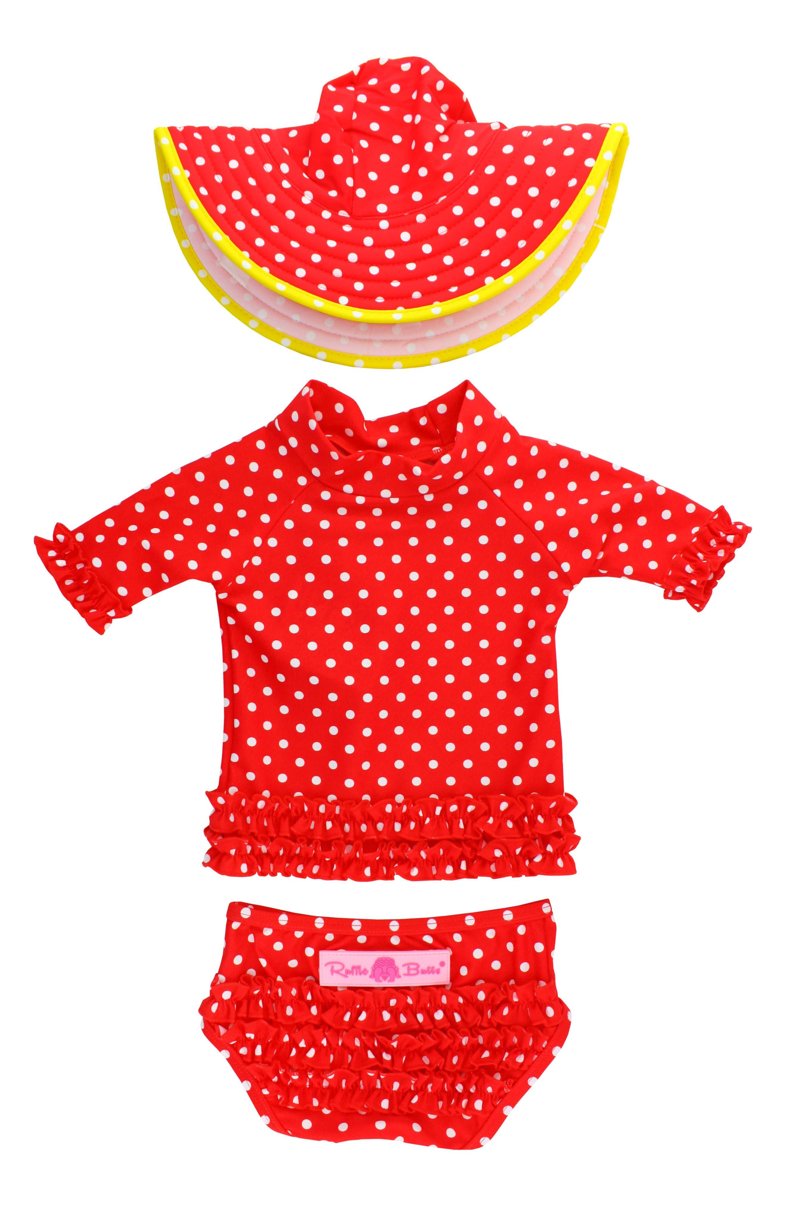 Two-Piece Rashguard Swimsuit & Hat Set,                             Alternate thumbnail 2, color,                             RED