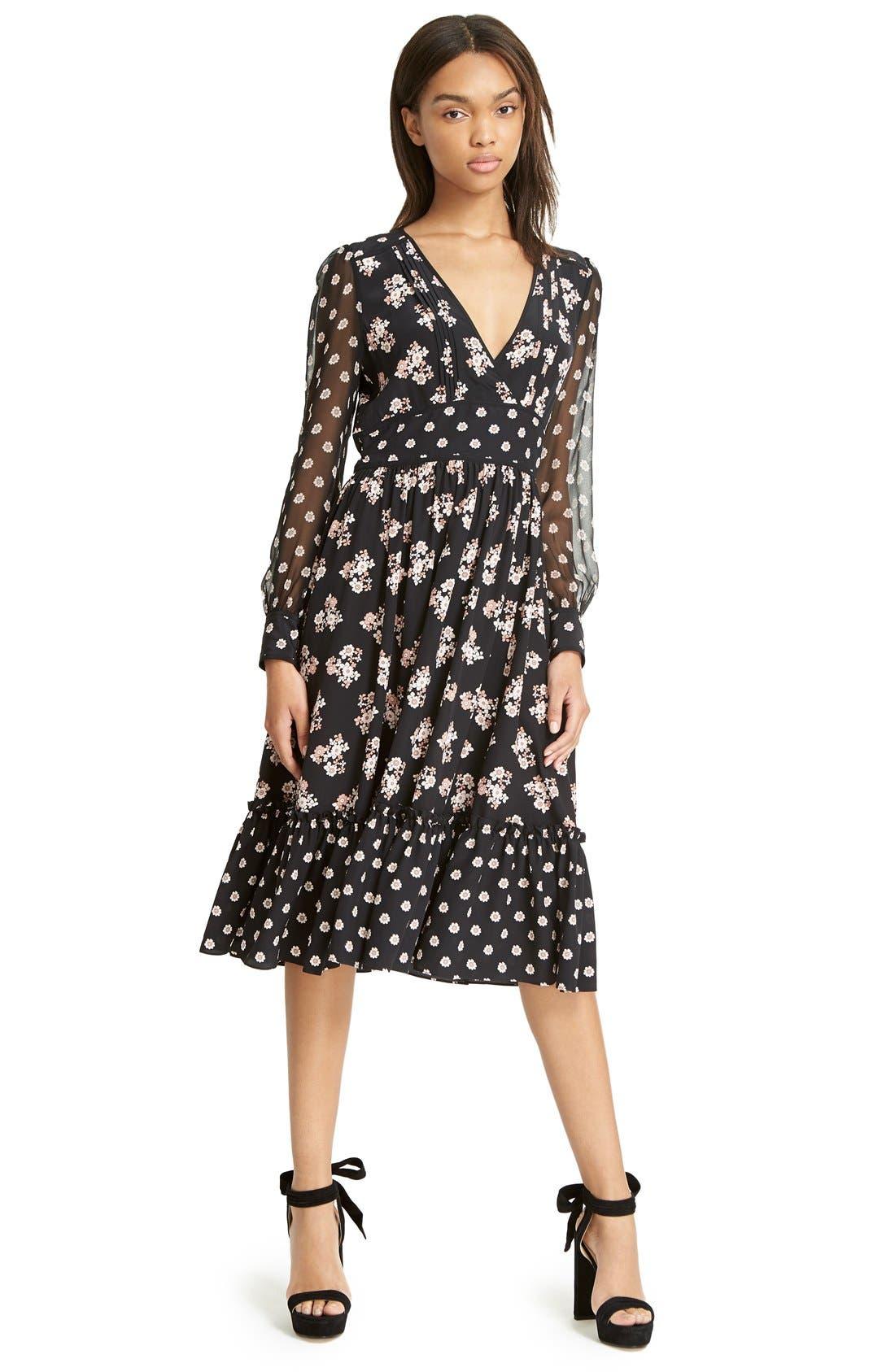 ditsy print silk midi dress,                             Alternate thumbnail 2, color,                             001