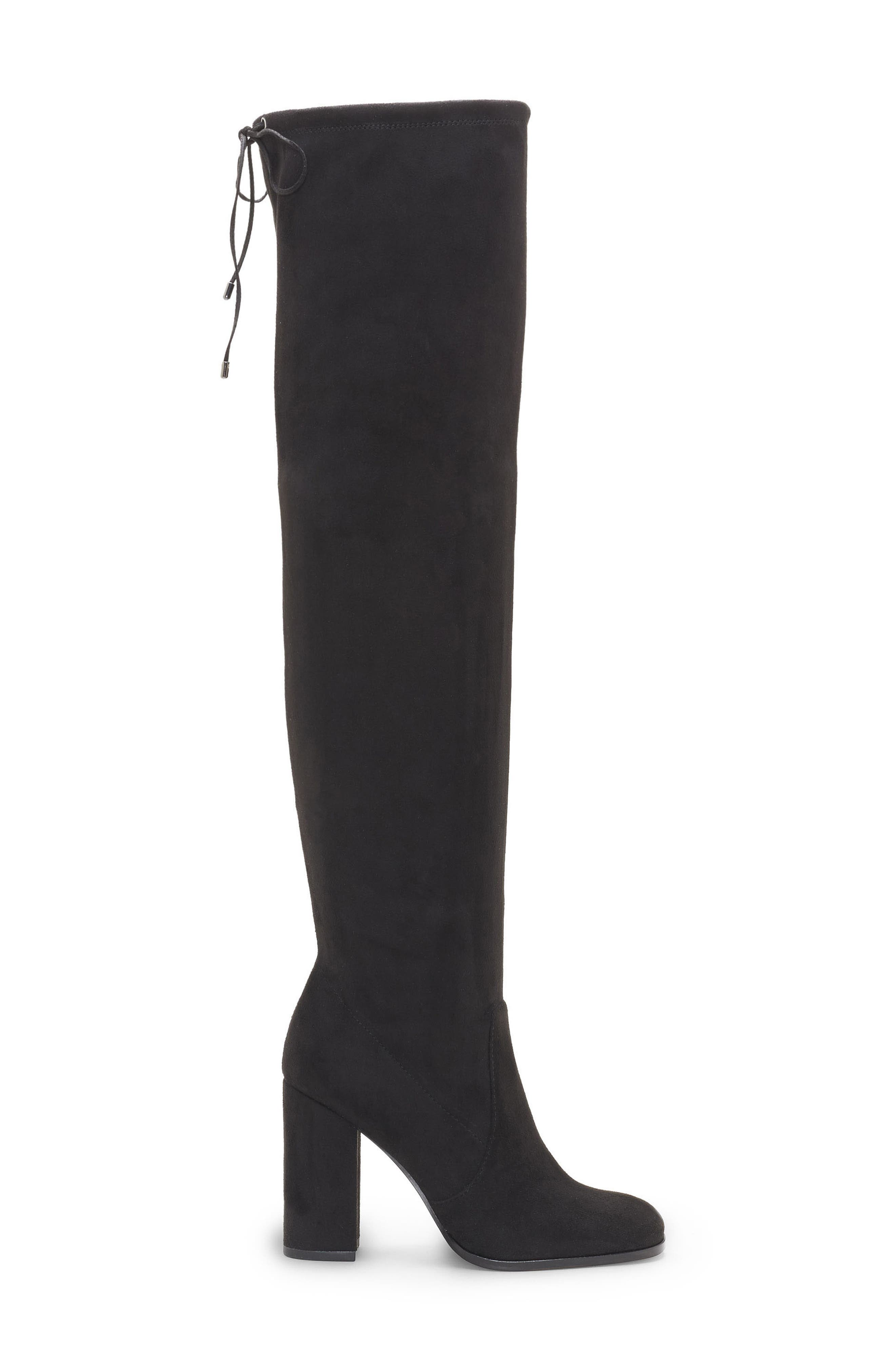 Marline Thigh High Boot,                             Alternate thumbnail 3, color,                             BLACK SUEDE
