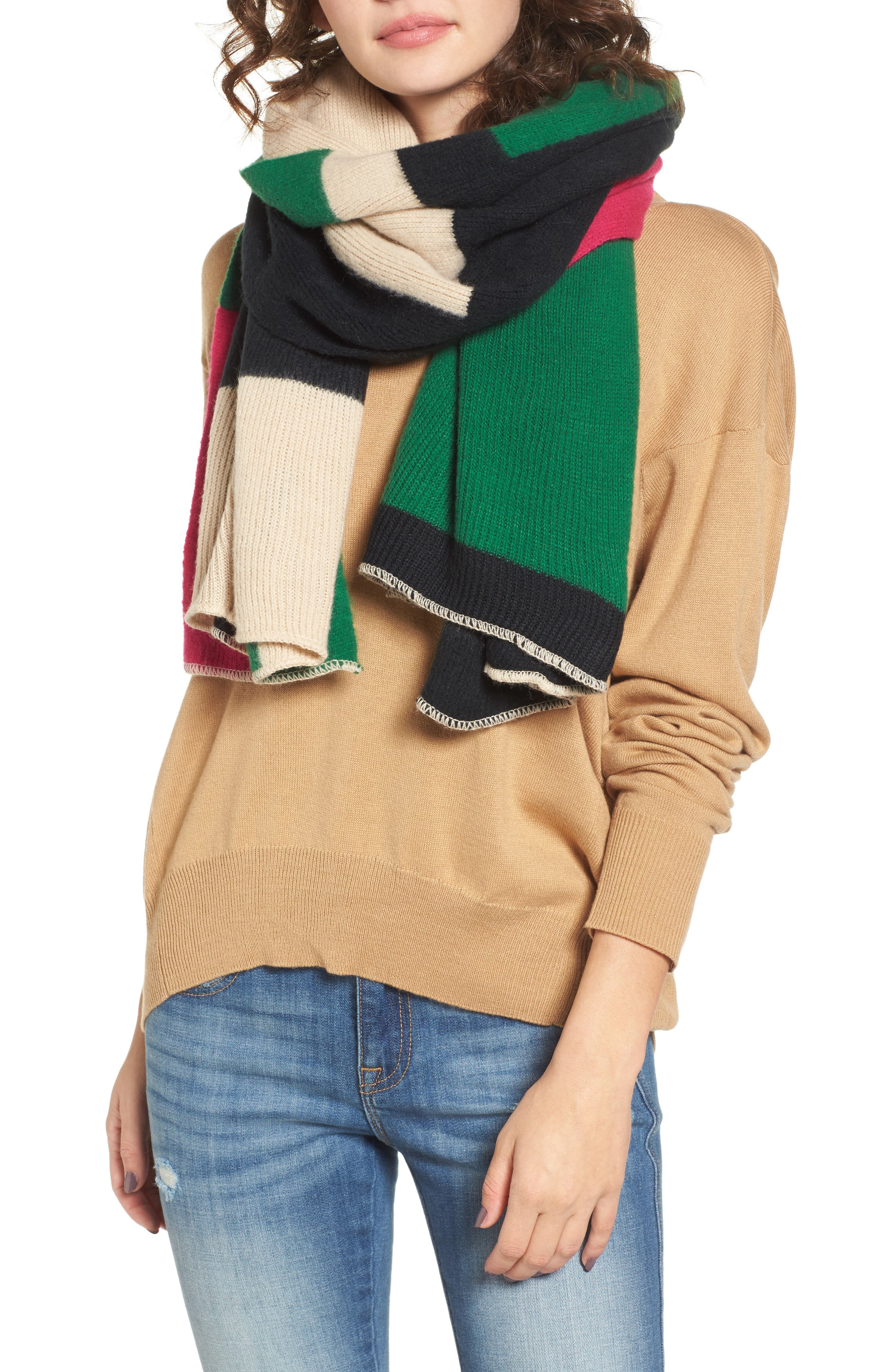 Bold Colorblock Oblong Scarf,                         Main,                         color, 001