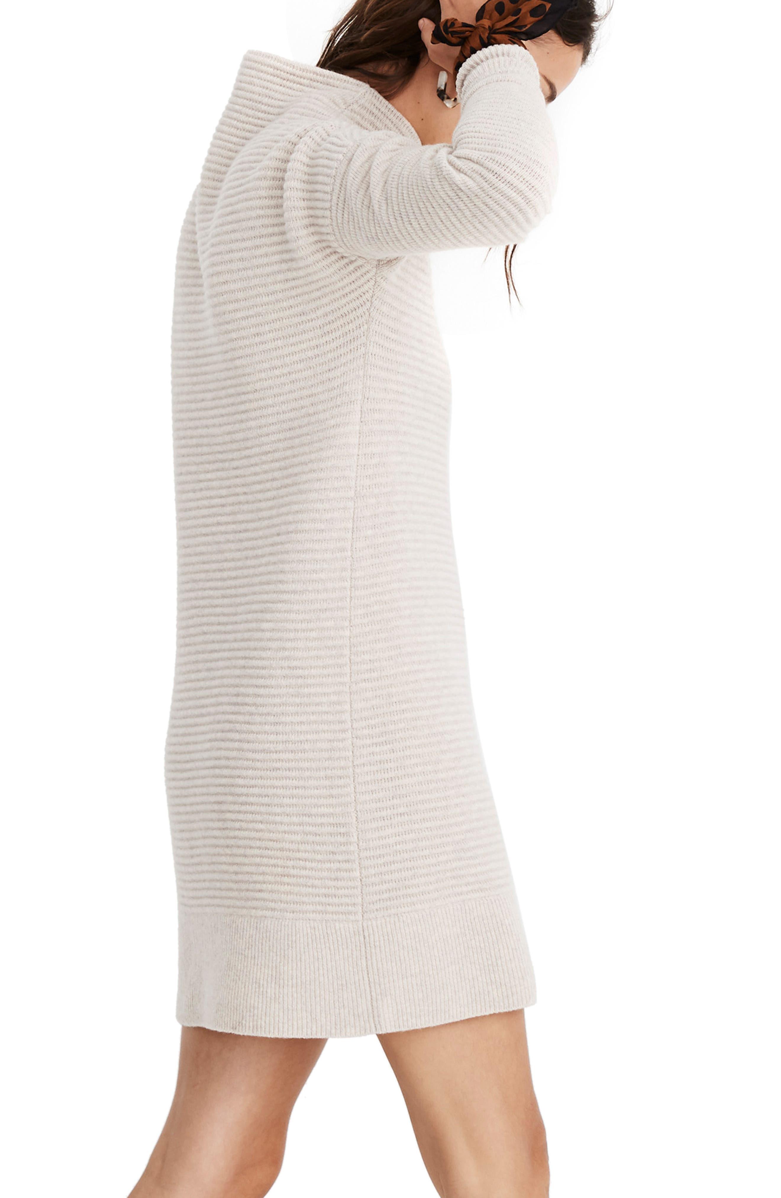 Skyscraper Merino Wool Sweater Dress,                             Alternate thumbnail 3, color,                             HEATHER ALMOND