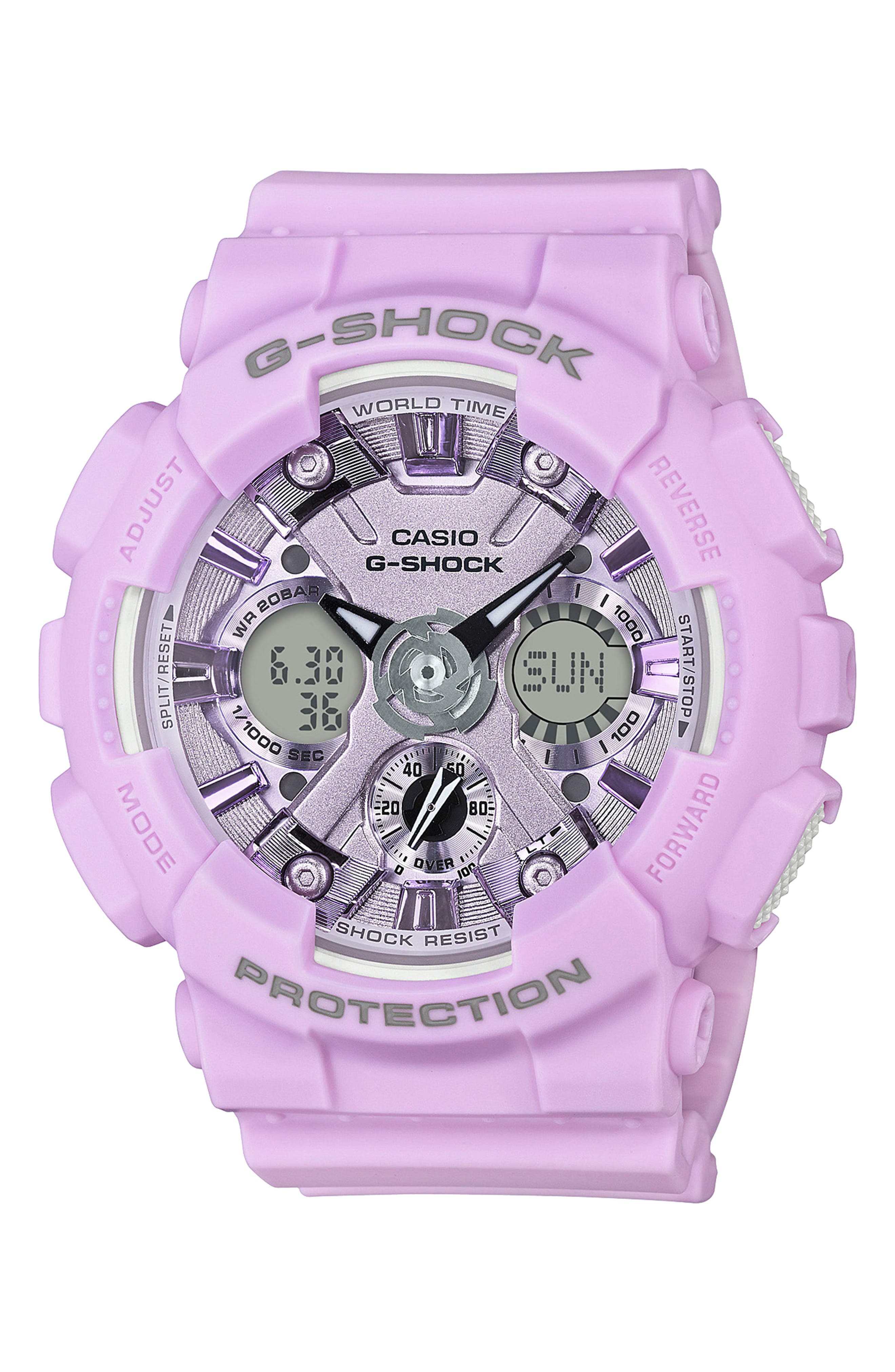 G-Shock S-Series Ana-Digi Resin Watch, 46mm,                         Main,                         color, LIGHT PURPLE