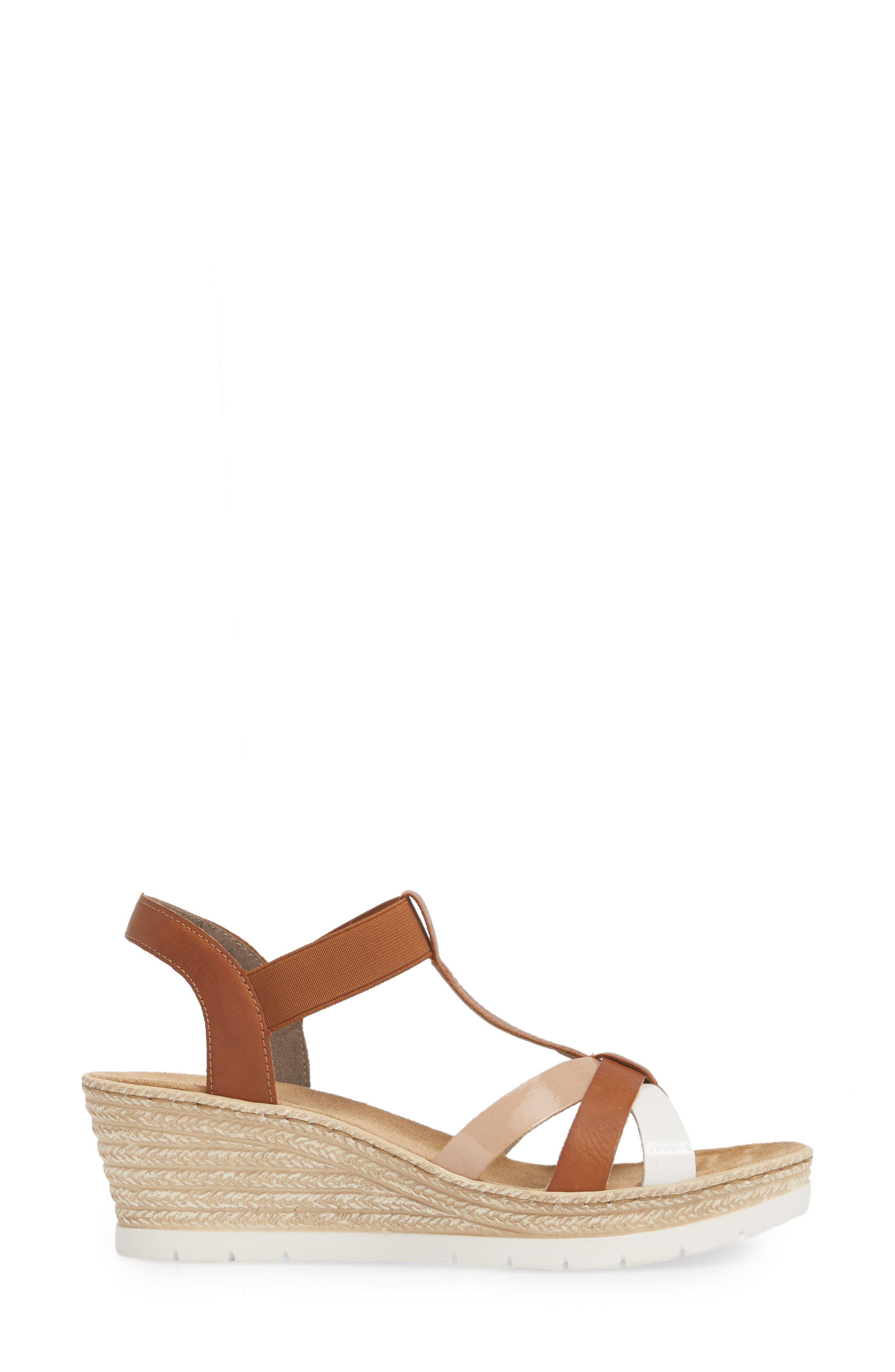 RIEKER ANTISTRESS,                             Fanni 95 Espadrille Wedge Sandal,                             Alternate thumbnail 3, color,                             BIANCO/ CAYENNE
